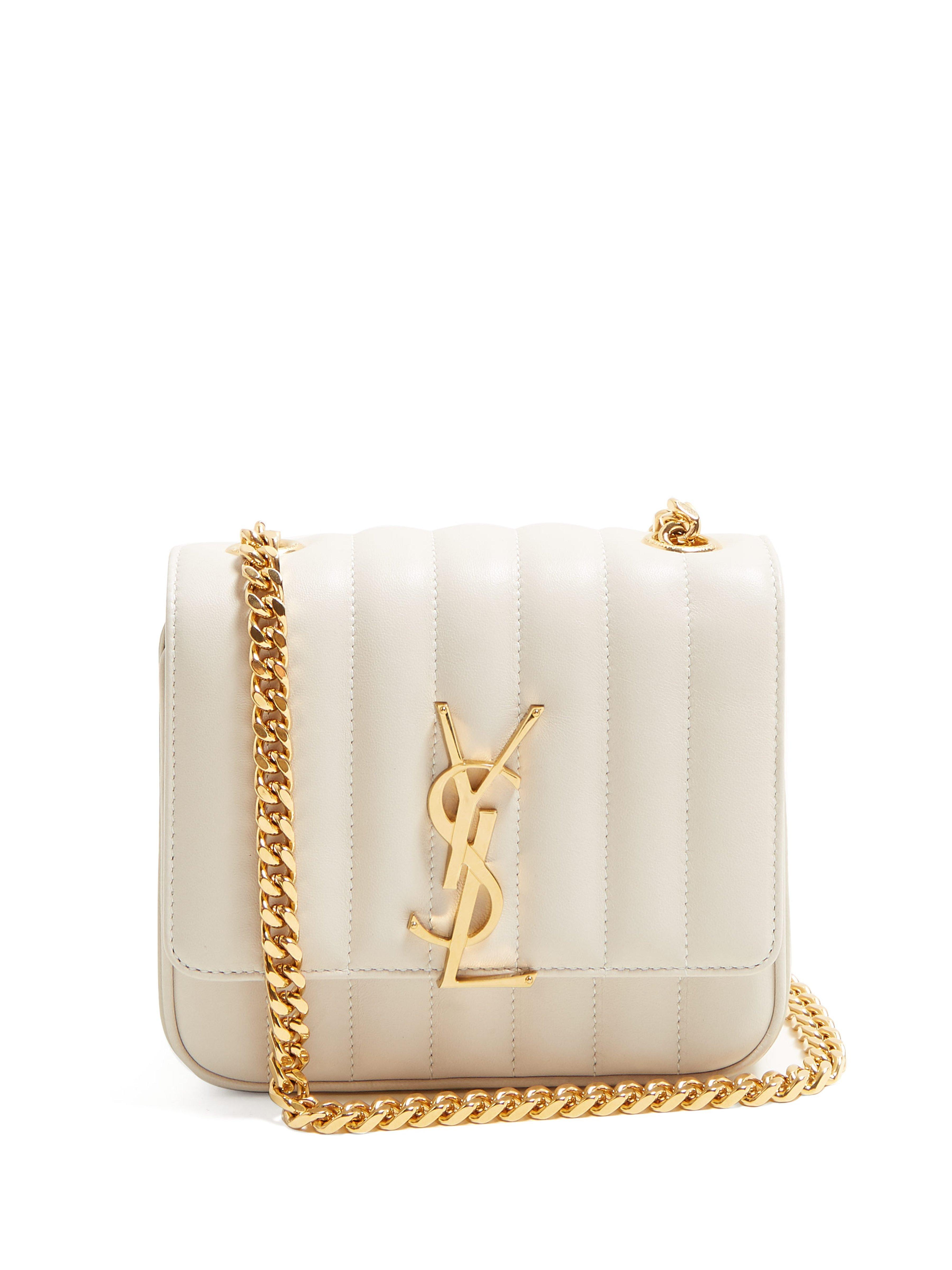 3574c47d1afe Saint Laurent Vicky Small Leather Bag in White - Lyst