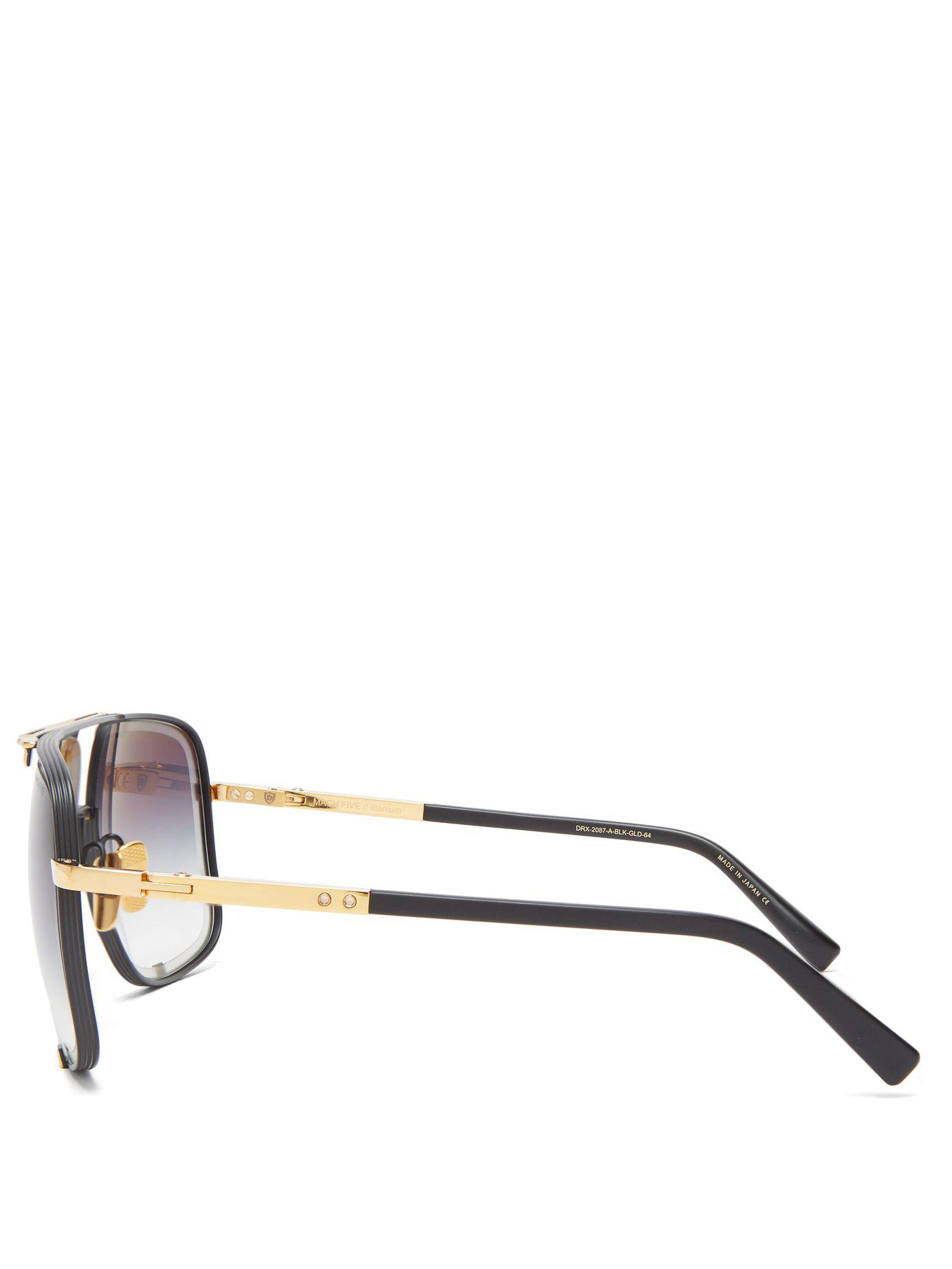 d8c12c2ab088 Lyst - Dita Eyewear Machn Five Gold-plated Titanium Sunglasses in ...