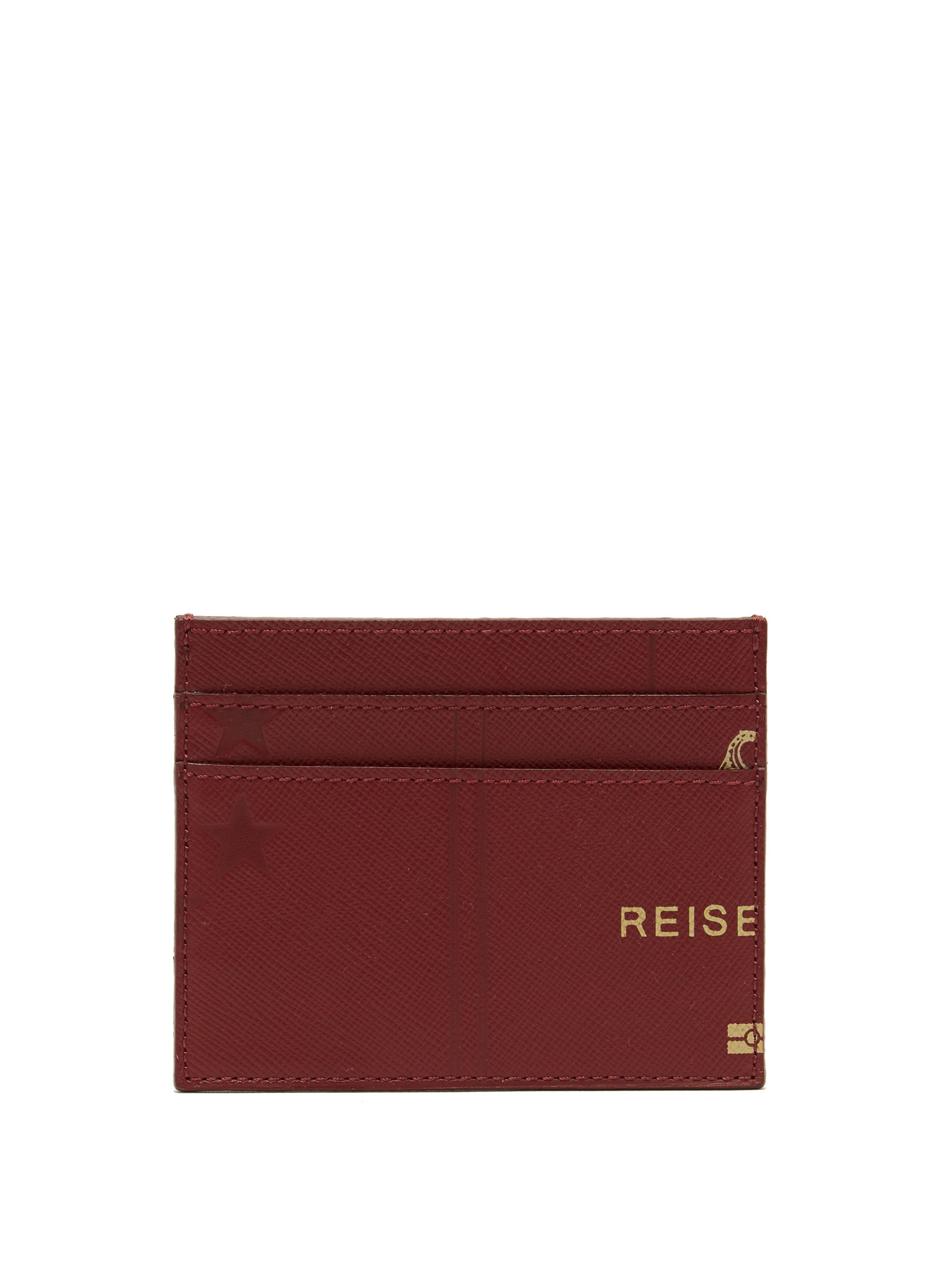 a6a03a4450b Vetements Passport Print Leather Cardholder in Red - Lyst
