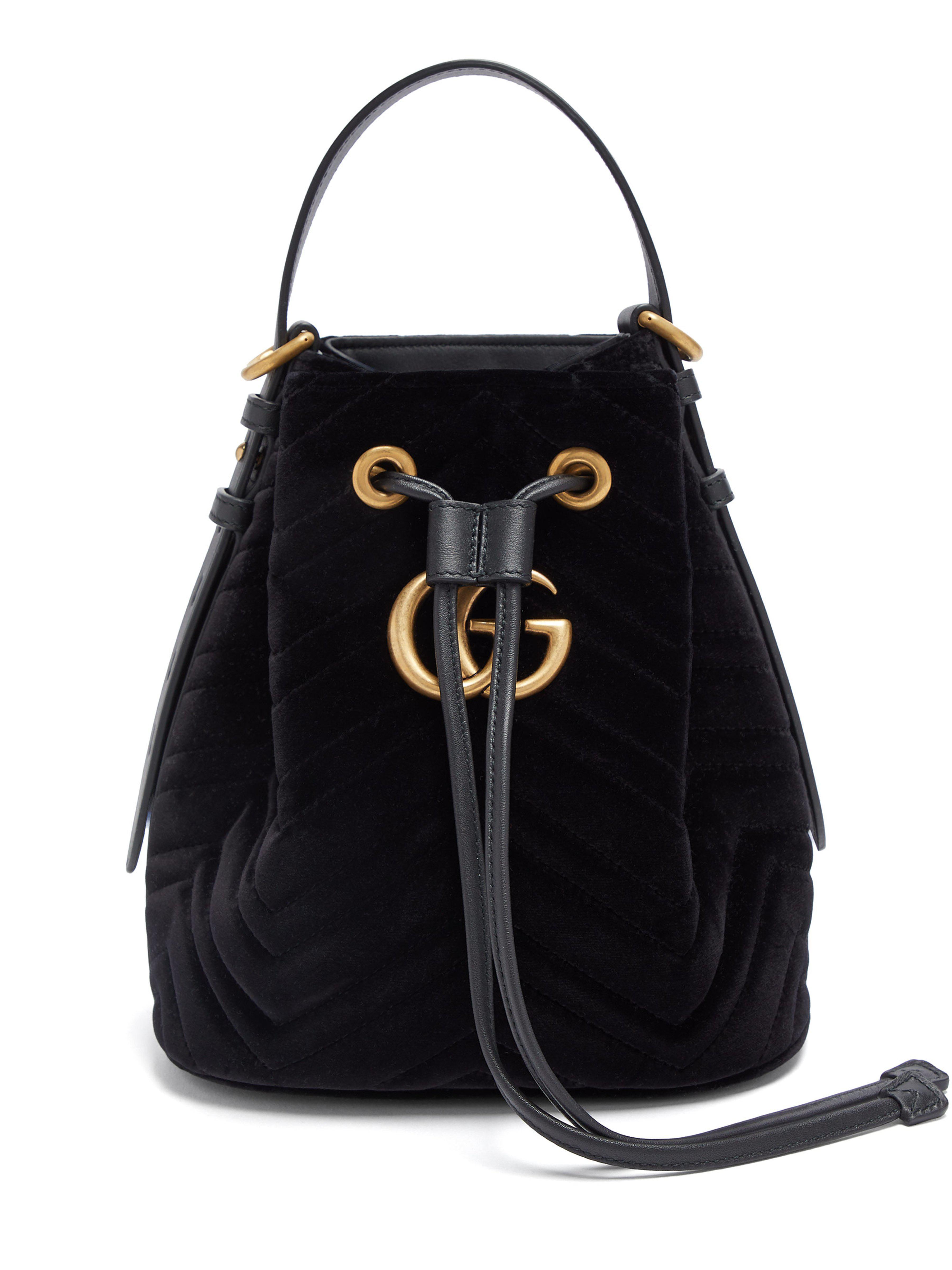 Gucci Gg Marmont Velvet Bucket Bag in Black - Lyst e8833bba7a602