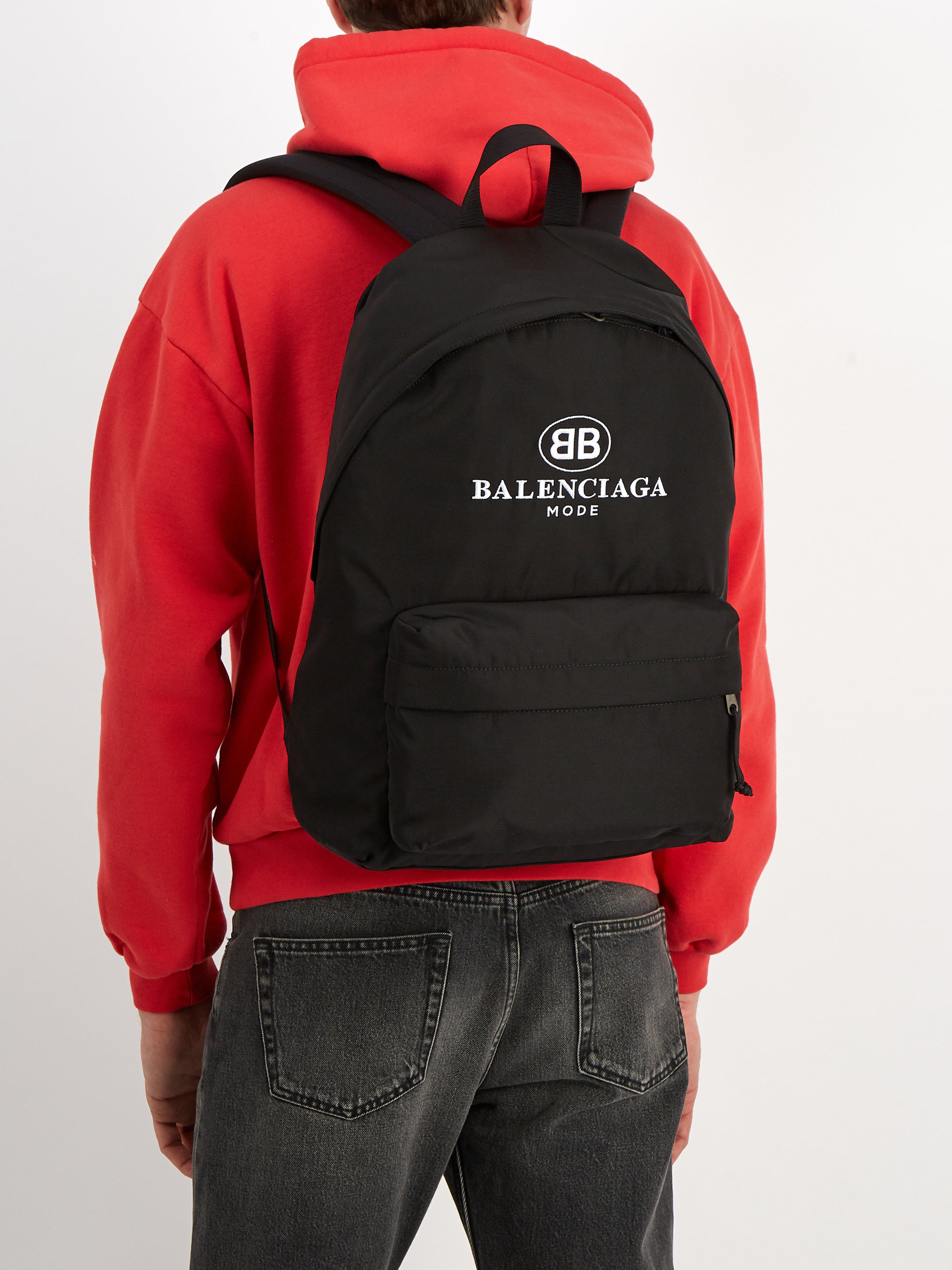 96948ccedd Sac à dos en toile enduite à logo brodé Balenciaga pour homme en coloris  Noir - Lyst