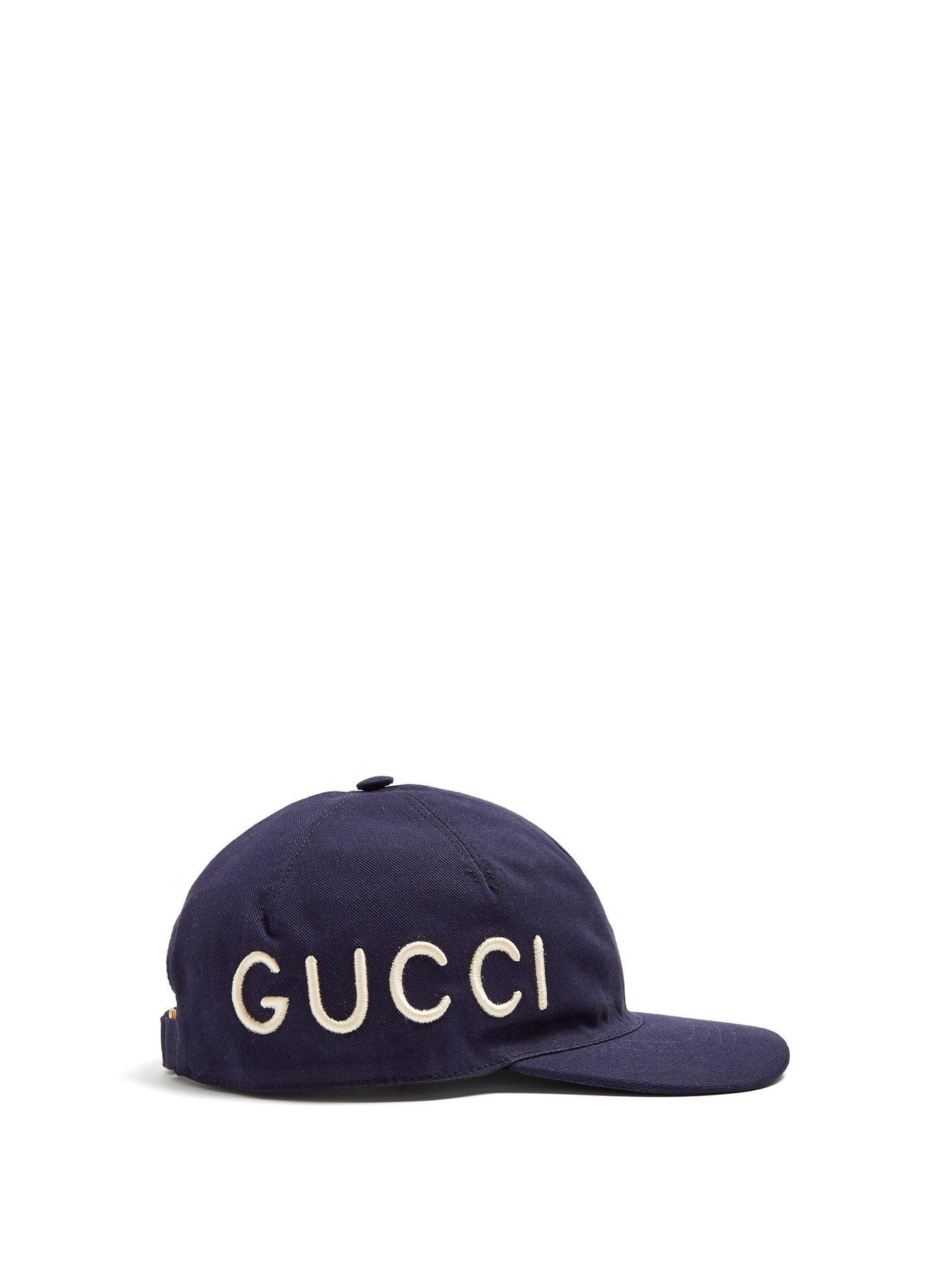 dc4c93bfa Lyst - Gucci Logo Embroidered Cotton Cap in Blue for Men