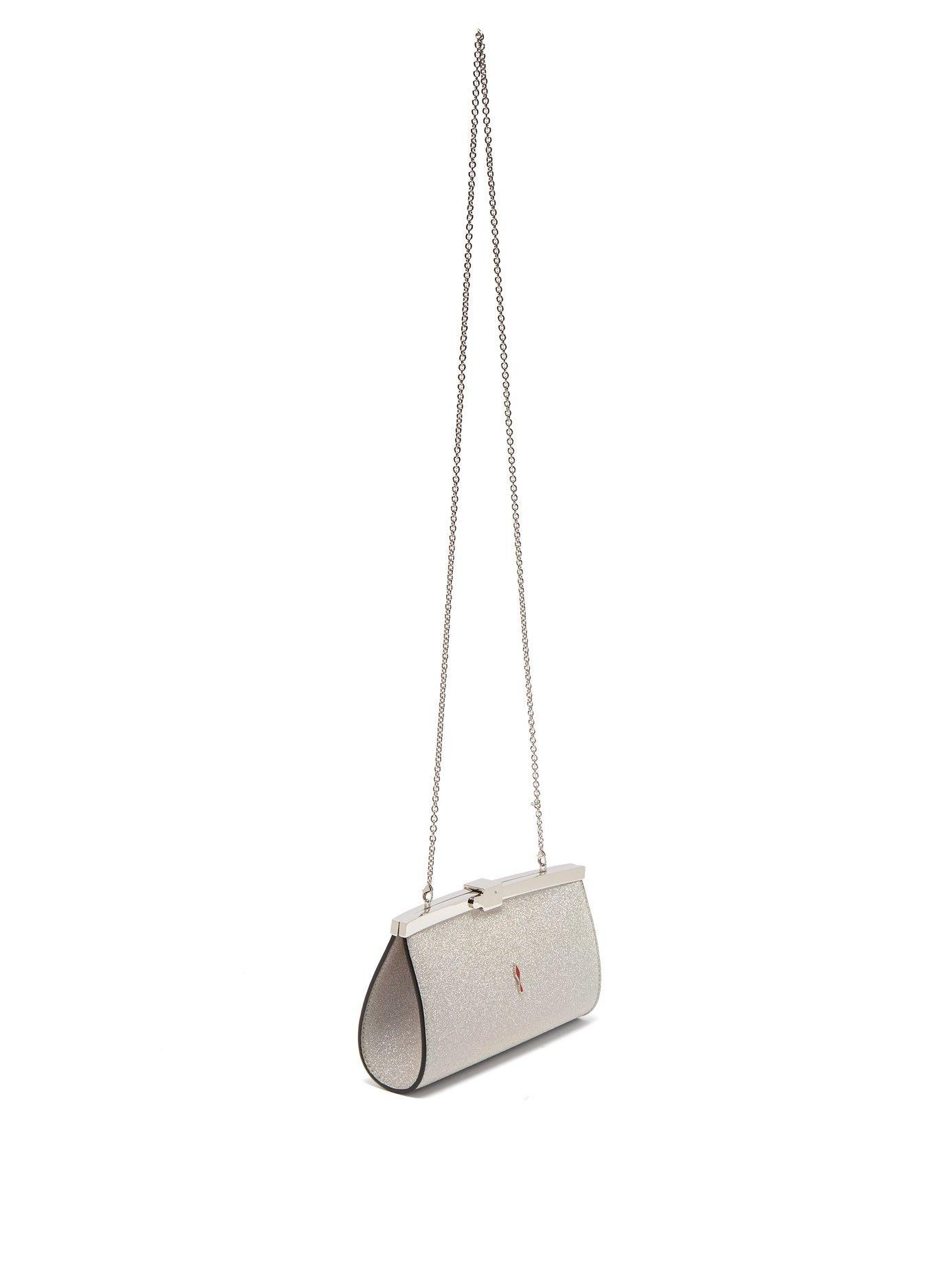 11607dd54 Christian Louboutin Palmette Glittered Leather Clutch Bag - Lyst