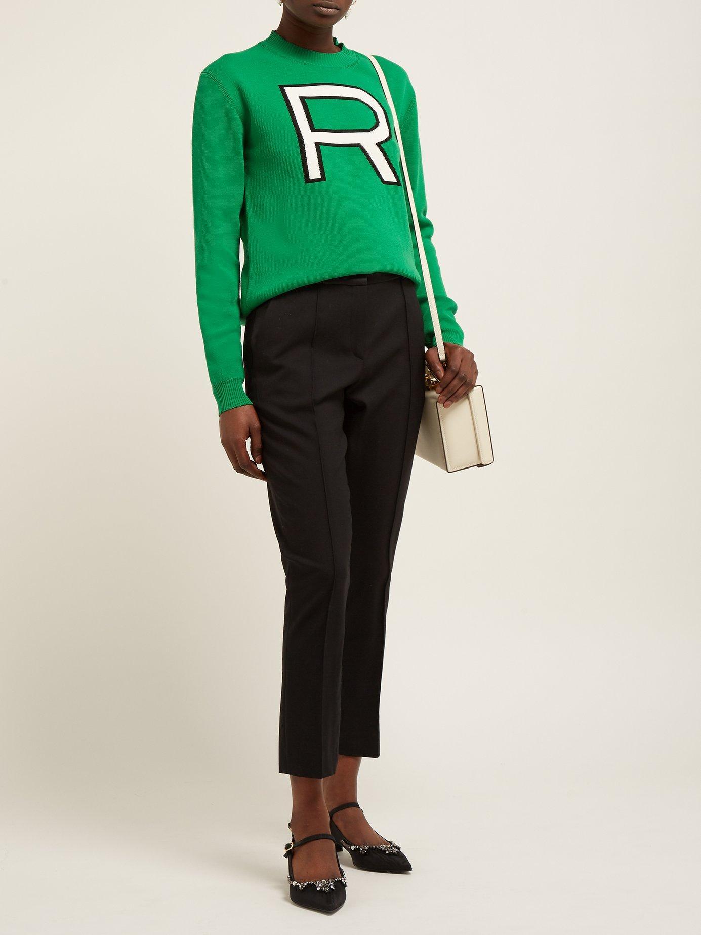 ddee642c0d Rochas - Green R Logo Intarsia Cotton Sweater - Lyst. View fullscreen