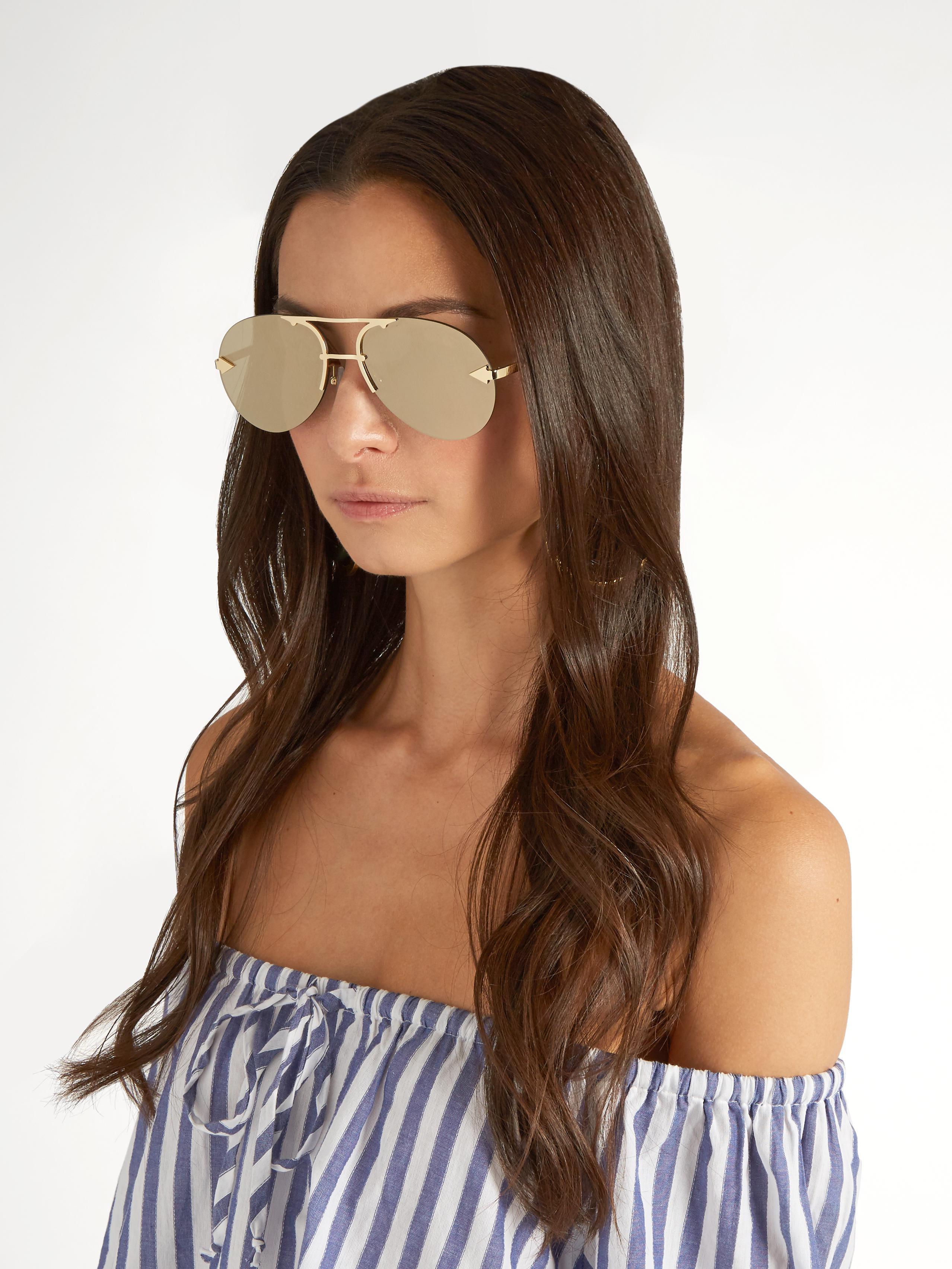 d02420cabe4 Lyst - Karen Walker Love Hangover Aviator Sunglasses in Metallic