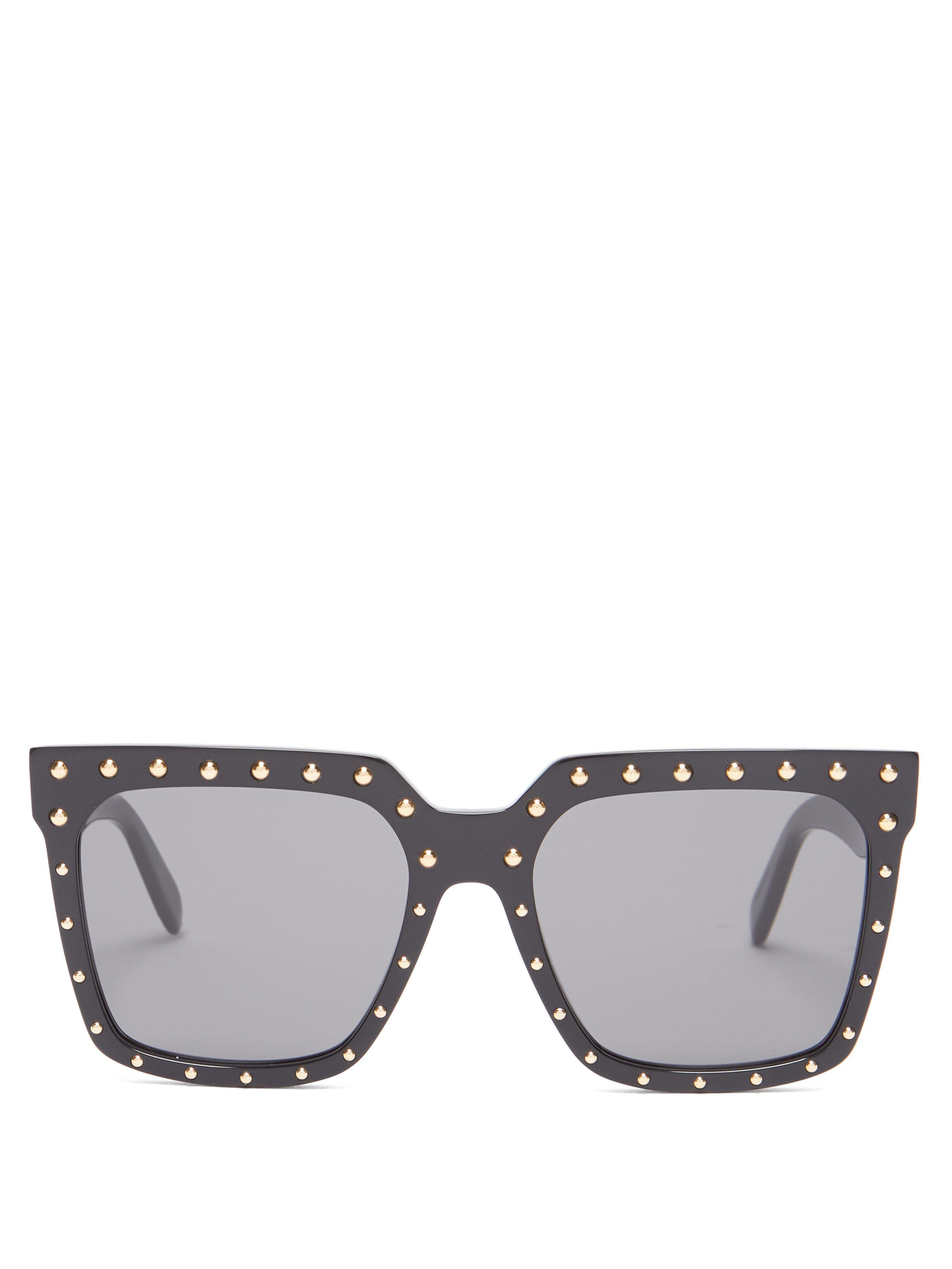 a03adf14bf Céline - Black Stud Embellished Square Frame Acetate Sunglasses - Lyst.  View fullscreen