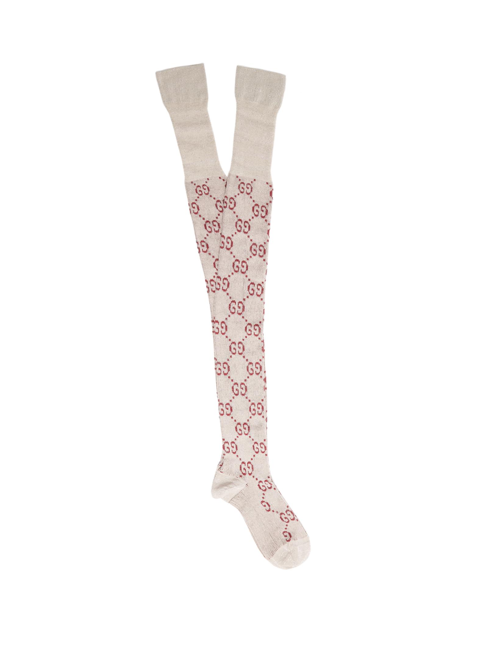 9c13300a7c8 Lyst - Gucci Gg Cotton-blend Over-the-knee Socks in White