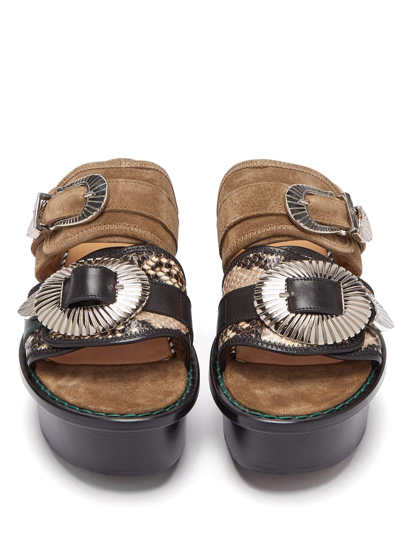a040287cdd8 Toga - Multicolor Double Strap Suede And Leather Flatform Sandals - Lyst.  View fullscreen
