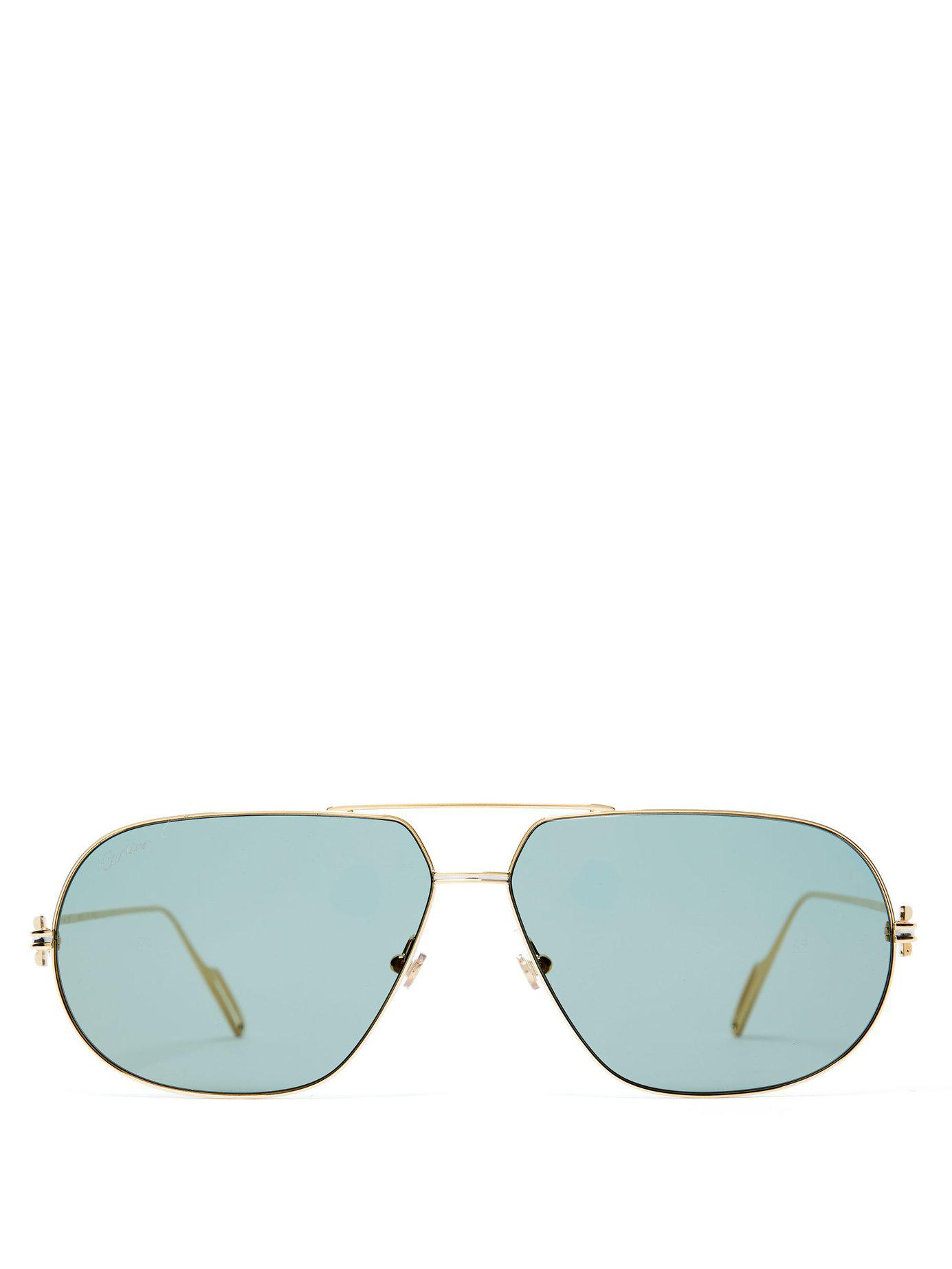 8ce1e242be7 Cartier. Men s Metallic Première De Cartier Aviator Frame Sunglasses