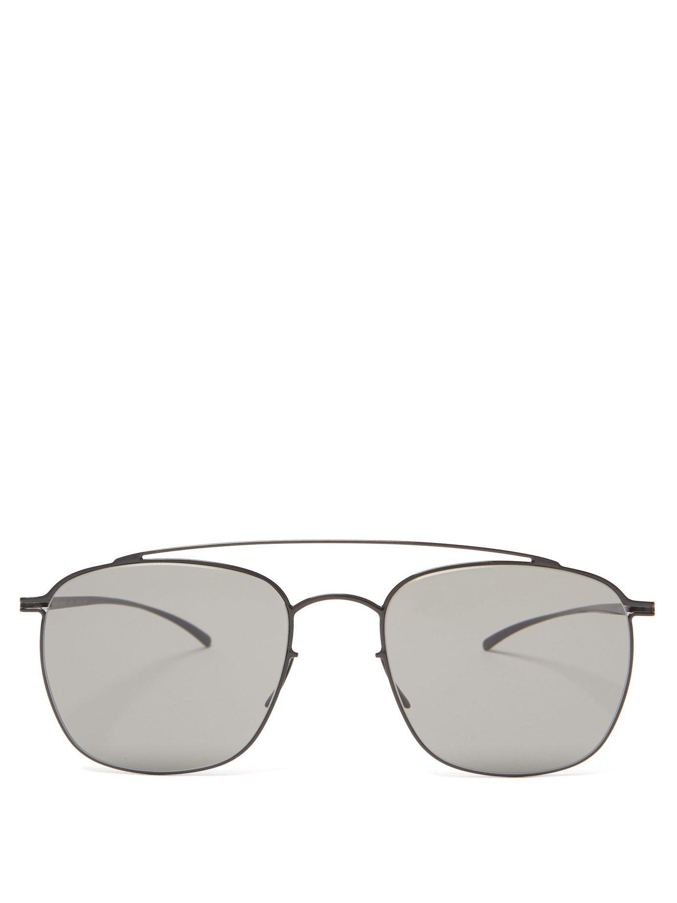 278b9d8ae13 Lyst - Mykita X Maison Margiela Aviator Metal Sunglasses in Black ...