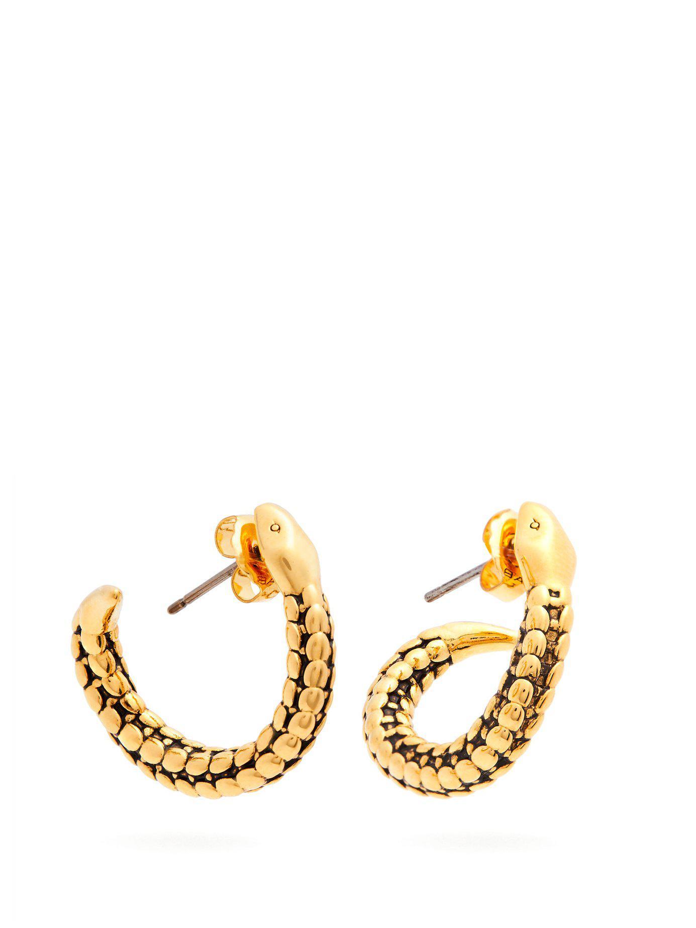 Lyst Aurelie Bidermann Snake Gold Plated Hoop Earrings in Metallic