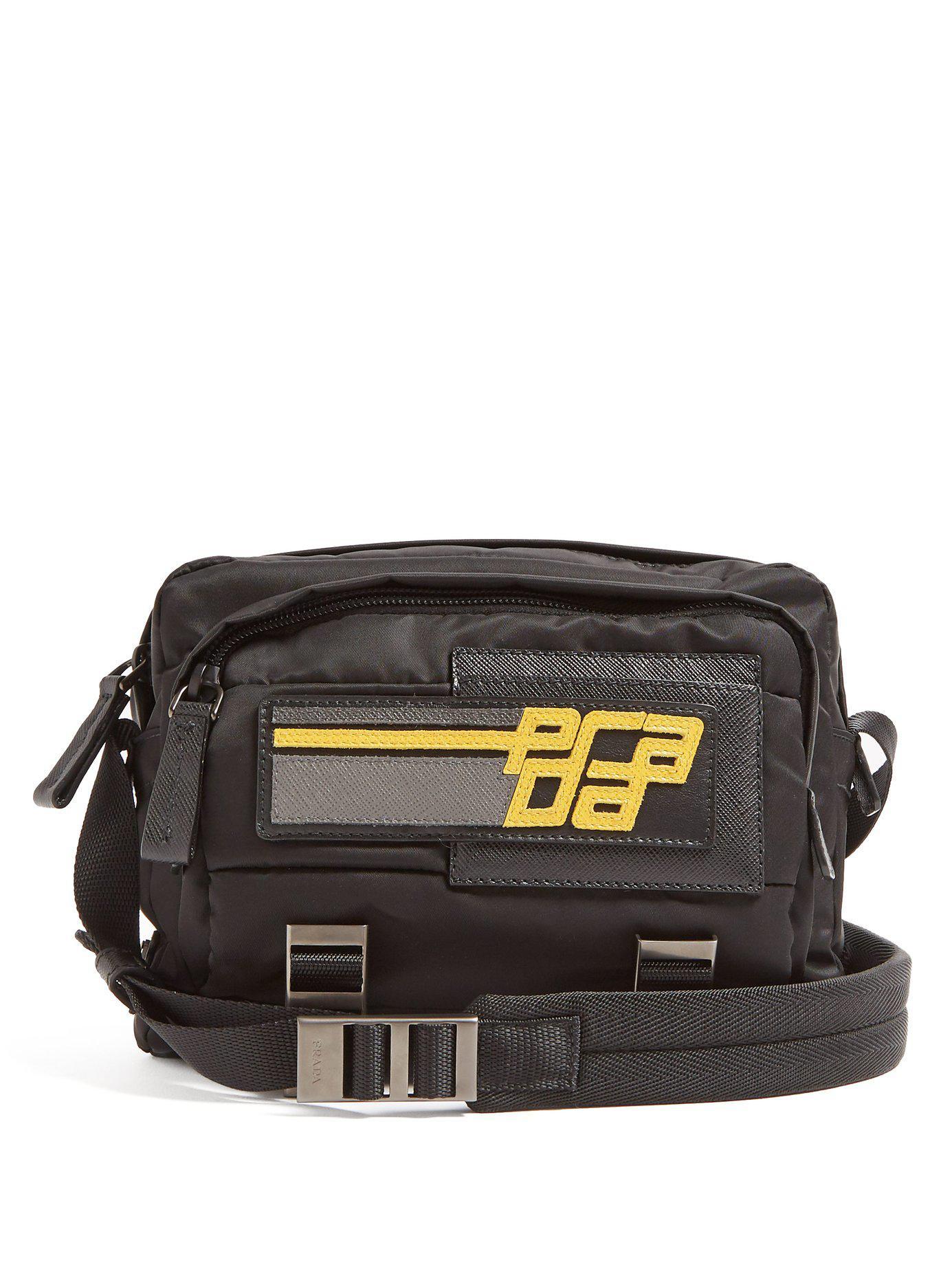 9ec00244a07b Lyst - Prada Logo Patch Nylon Cross Body Bag in Black for Men