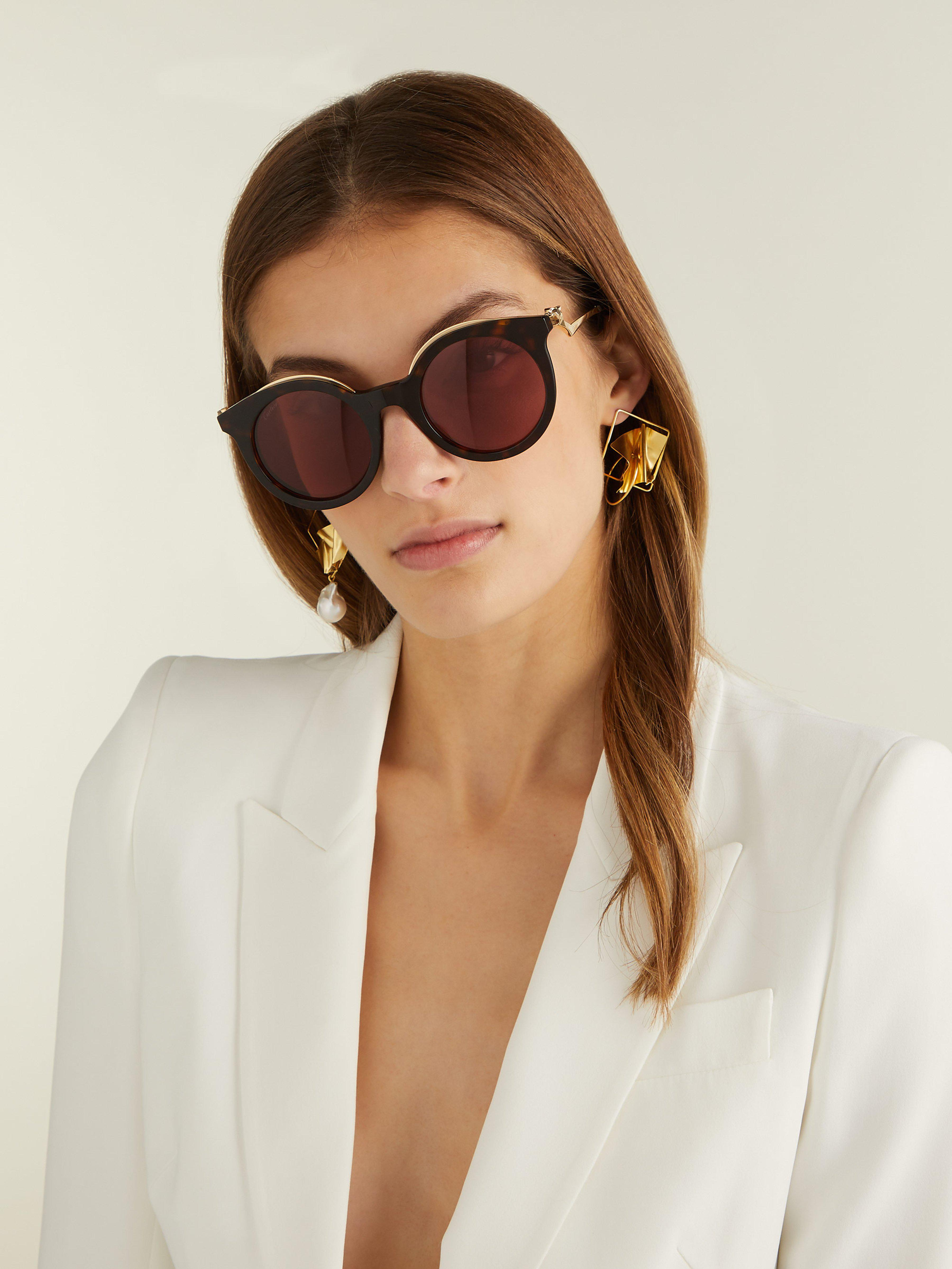 de9cee12bf8b Cartier Cat Eye Tortoiseshell Sunglasses in Brown - Lyst
