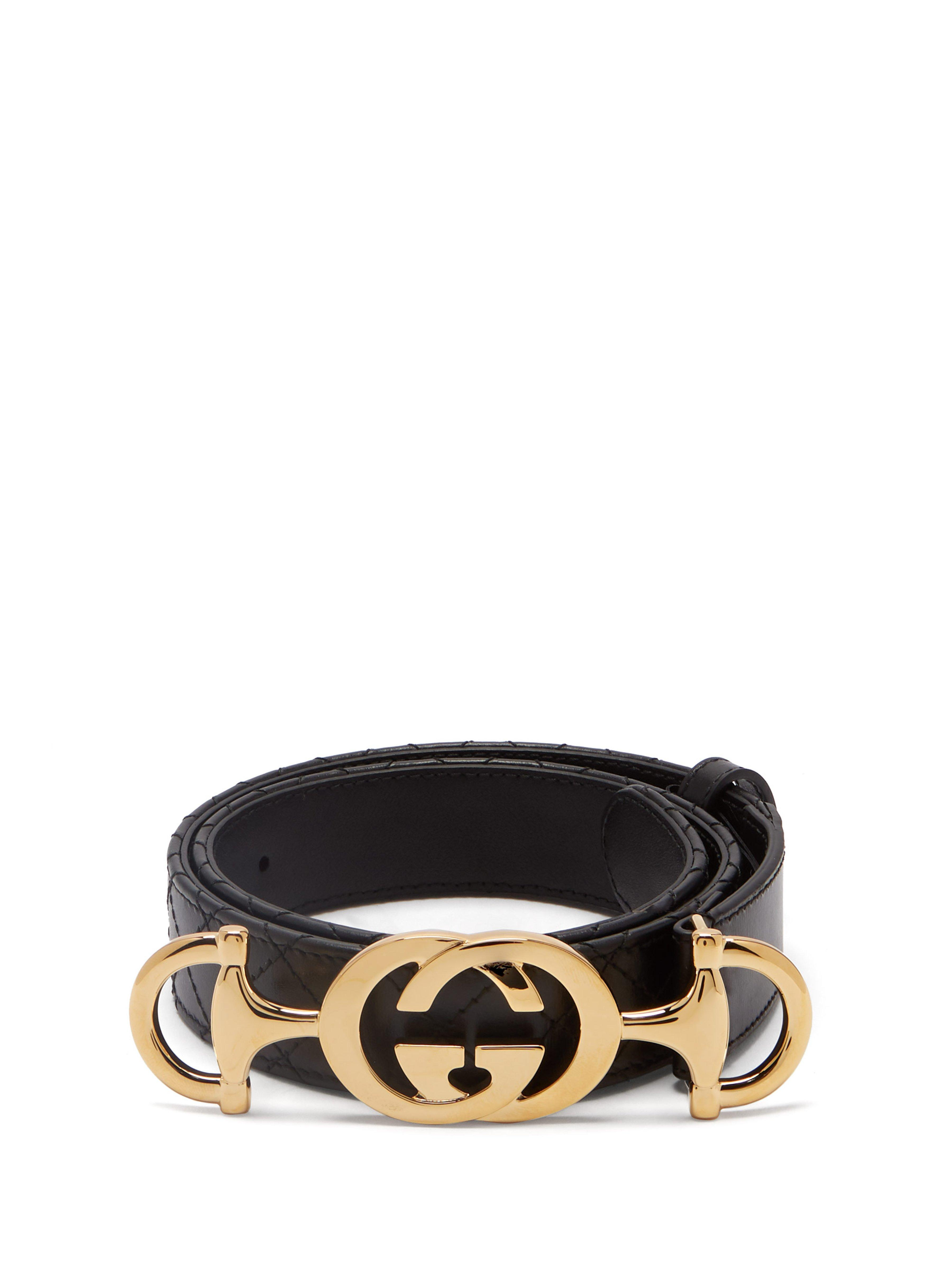 df5a6872e02 Gucci Horsebit Buckle Quilted Leather Belt in Black - Lyst