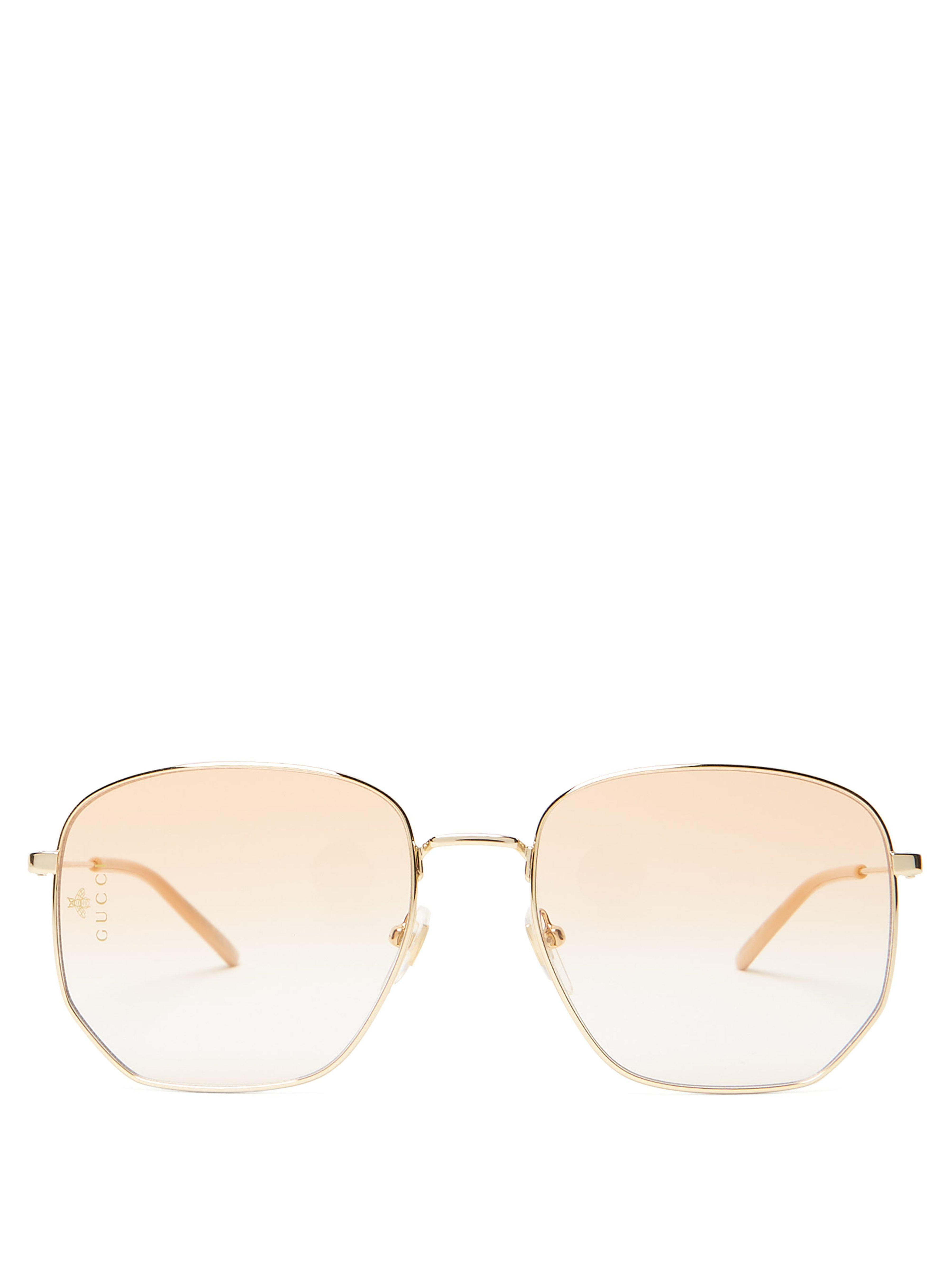 062c7234bed Gucci Square Frame Metal Glasses in Metallic for Men - Lyst