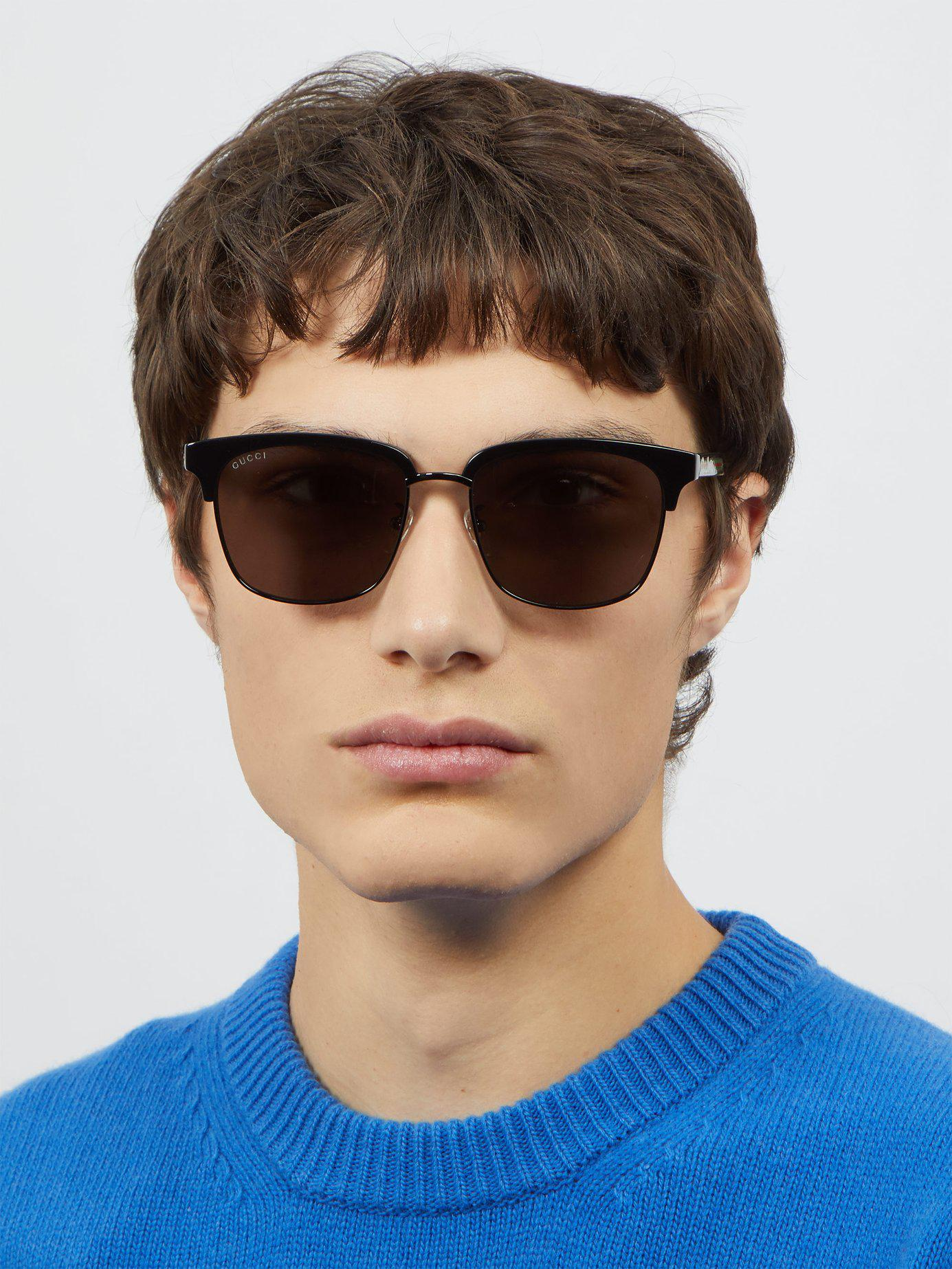 c2ef4b5cc6b Lyst - Gucci Web Striped Acetate And Metal Sunglasses in Black for Men