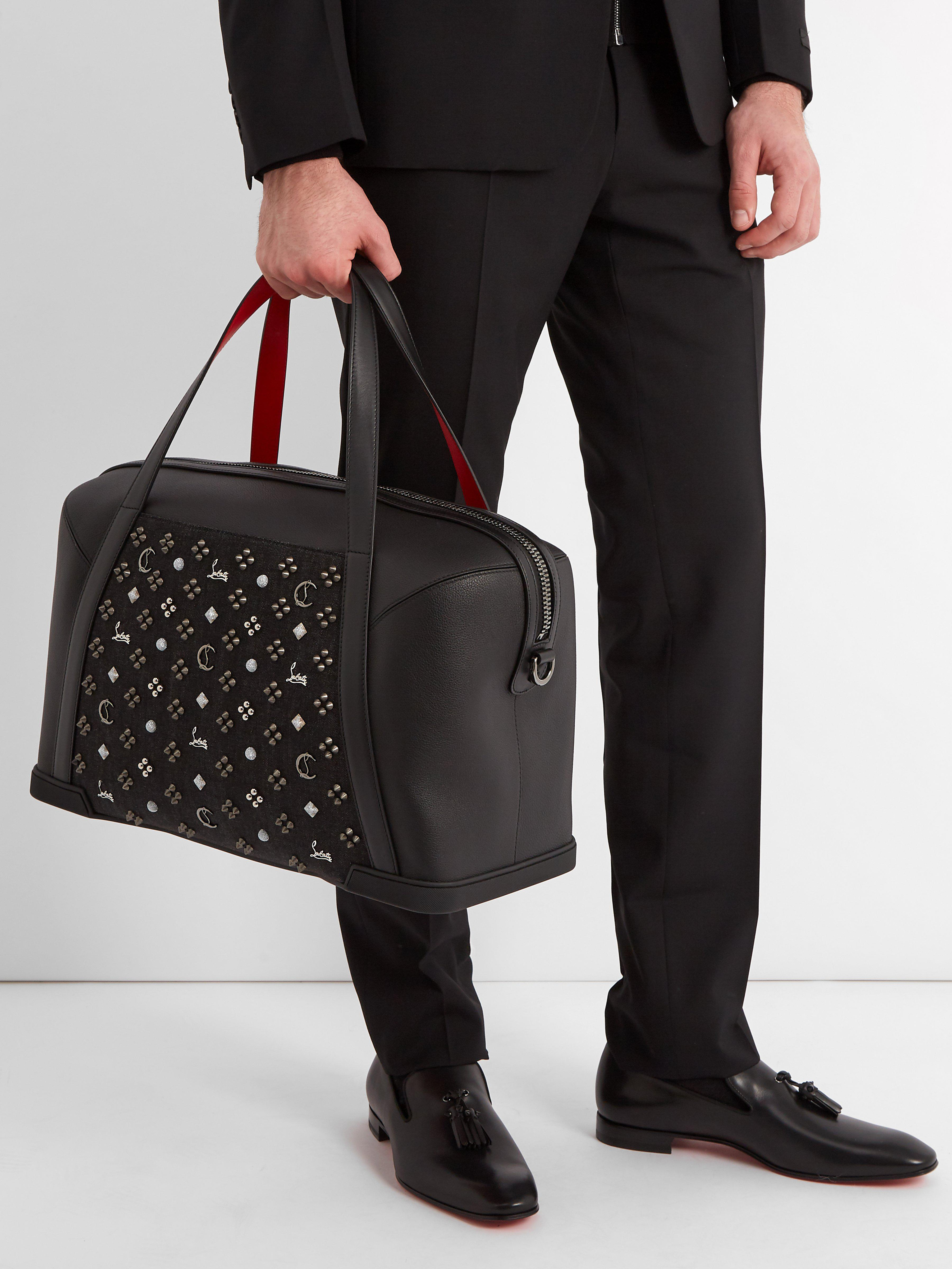 669f9b4b887 Christian Louboutin Bagdamon Spike Embellished Leather Holdall in Black for  Men - Lyst