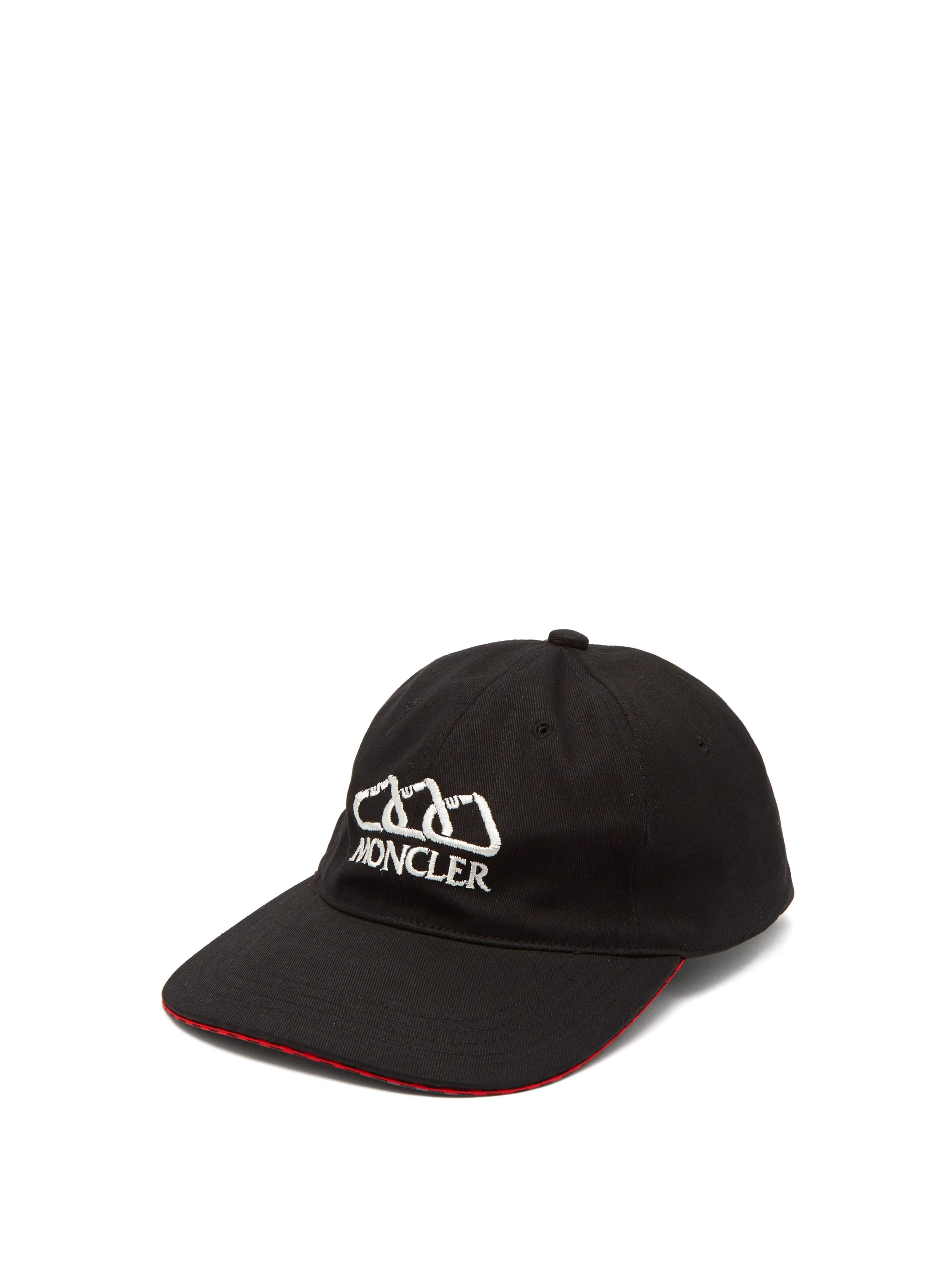 b266613aed0c Moncler Logo Embroidered Cotton Cap in Black for Men - Save 3% - Lyst