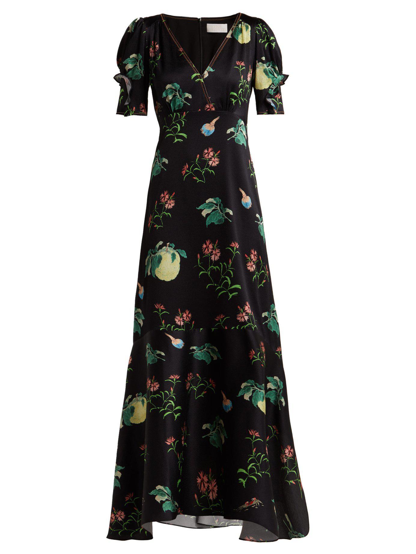 72ef3564787 Lyst - Peter Pilotto Fruit Print Silk Midi Dress in Black