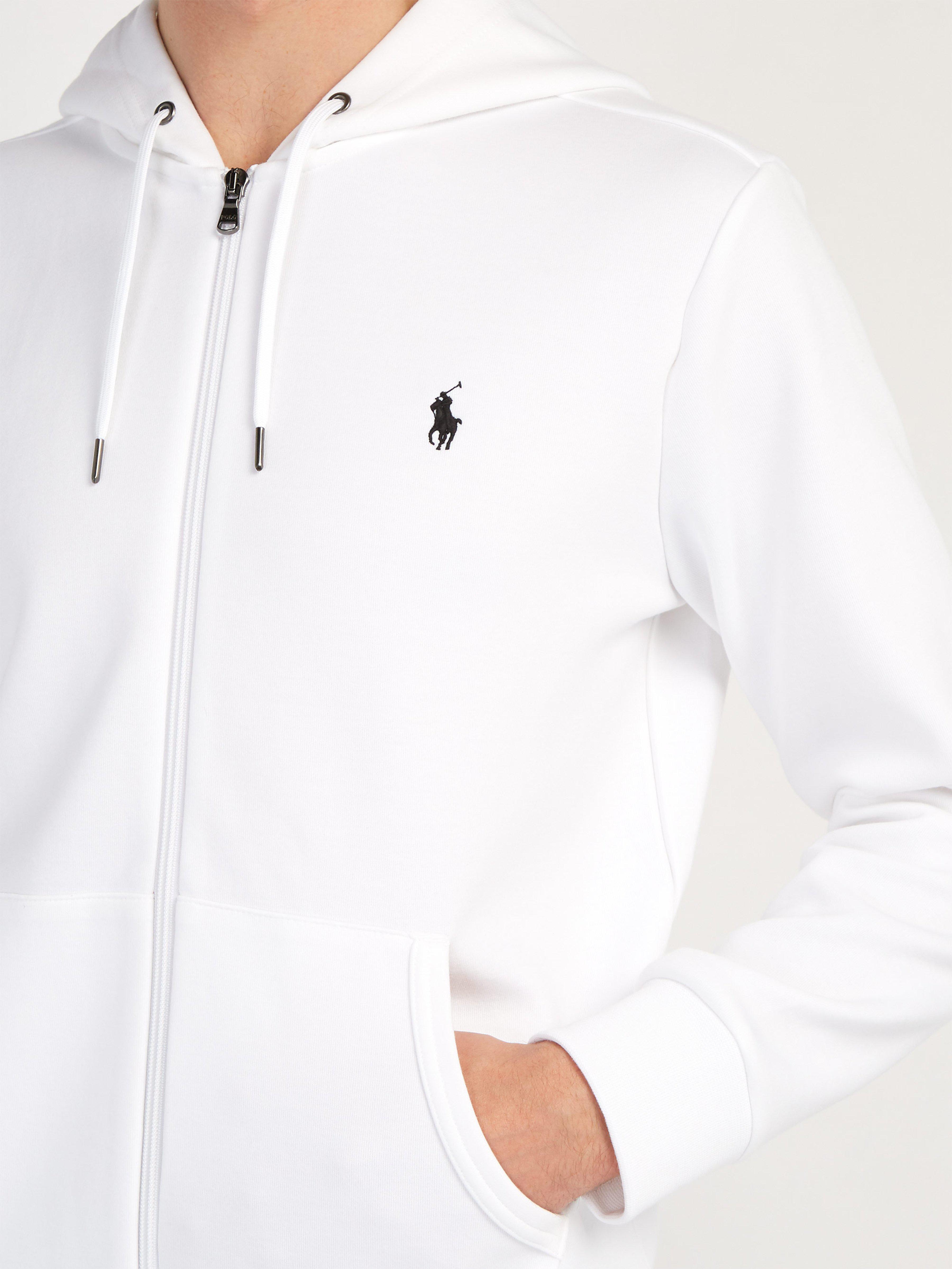 590f6f0b Polo Ralph Lauren - White Logo Embroidered Zip Through Hooded Sweatshirt  for Men - Lyst. View fullscreen