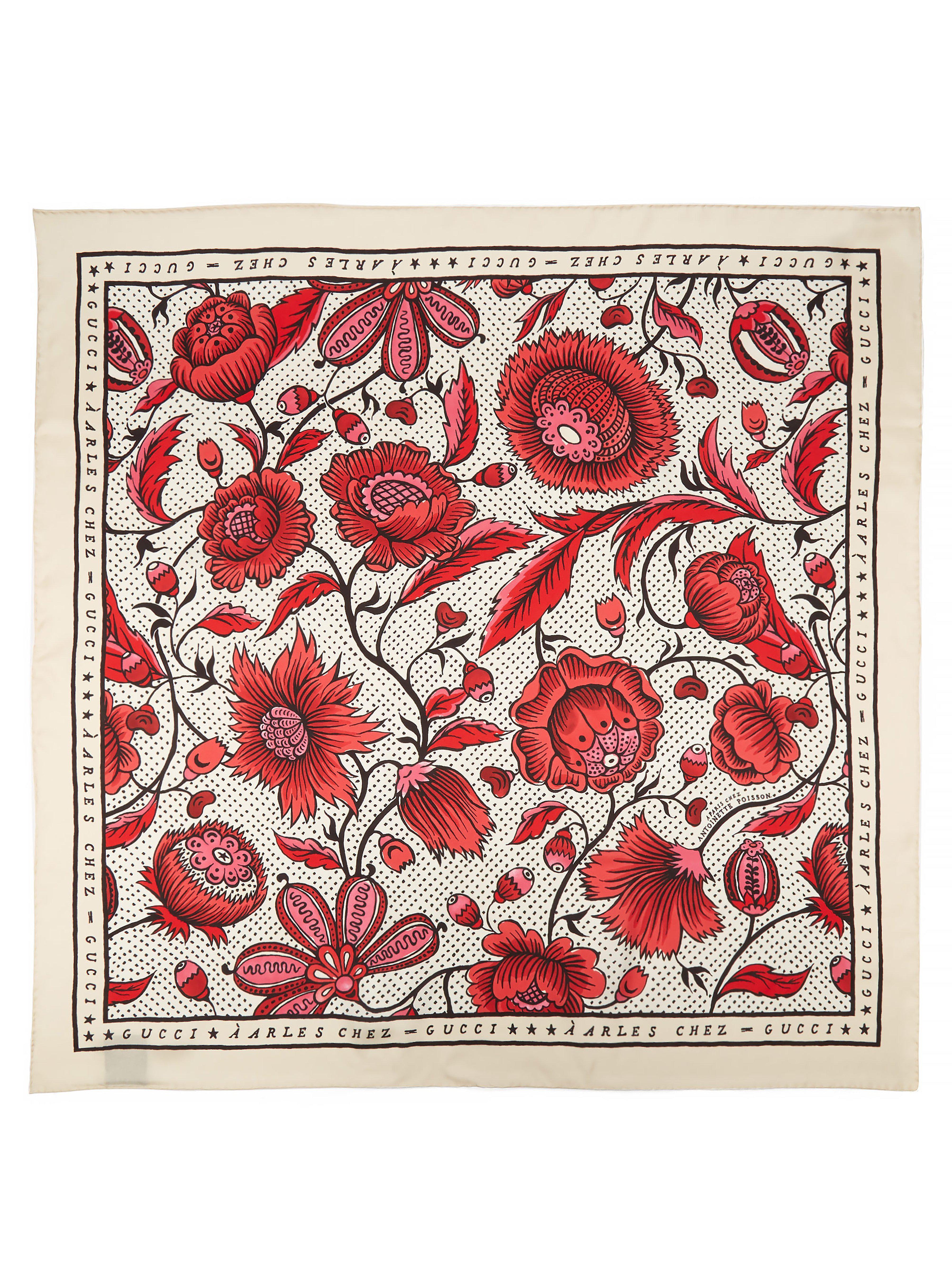 0352fecaca61 Gucci - Red Foulard en sergé de soie à imprimé floral Arle - Lyst. Afficher  en plein écran