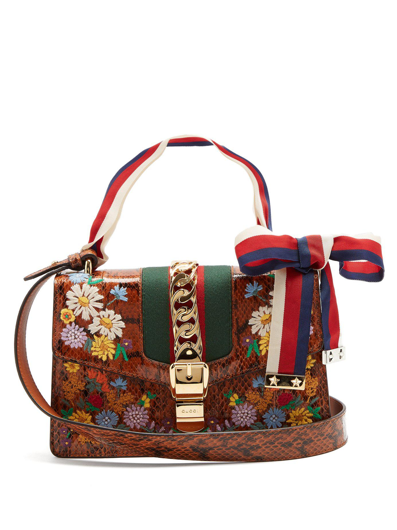 71c6b999c70 Lyst - Gucci Floral Embroidered Watersnake Shoulder Bag in Brown