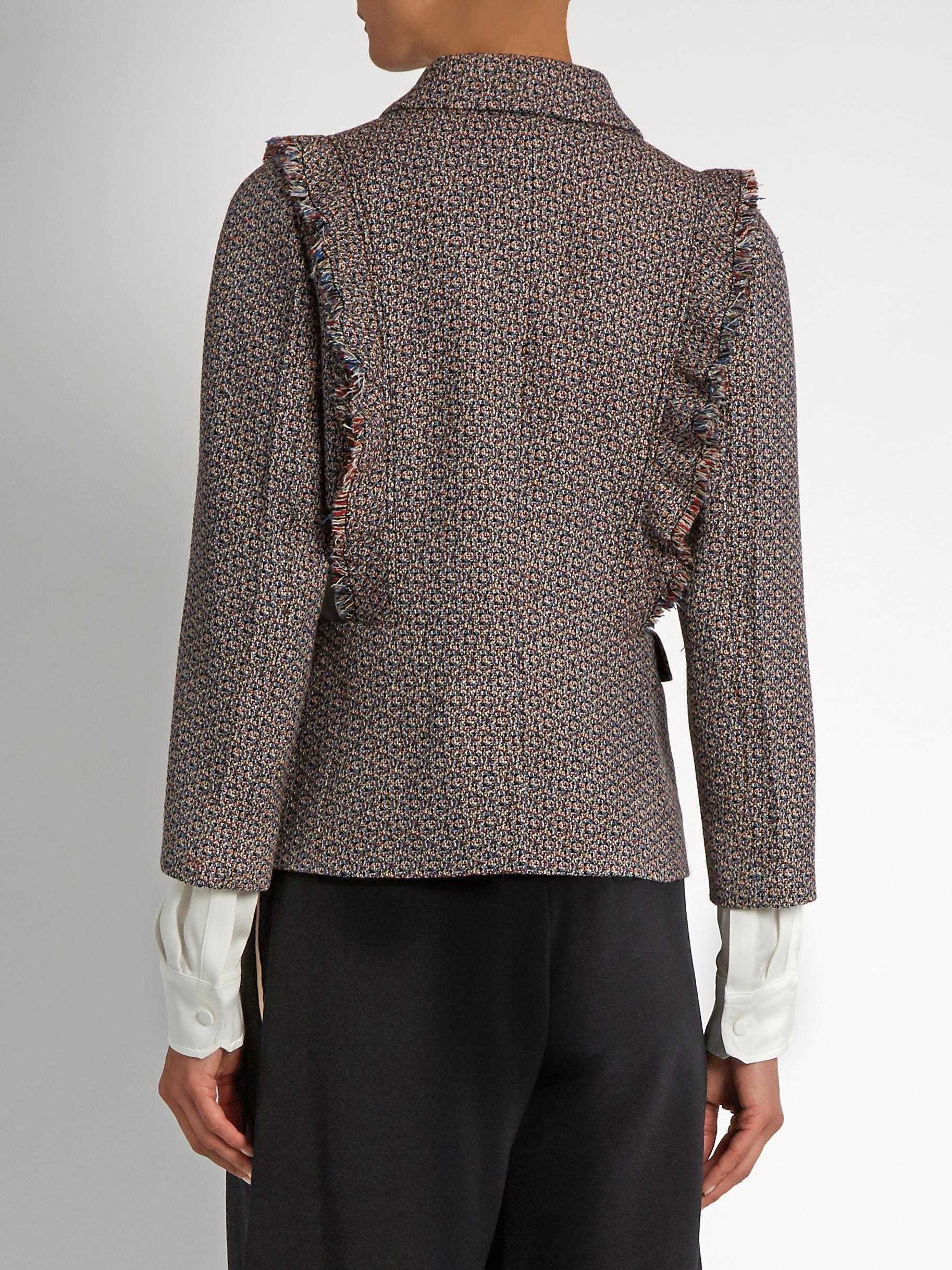 Sonia Rykiel   Blue Single-breasted Ruffle-trimmed Wool-tweed Jacket    Lyst. View Fullscreen