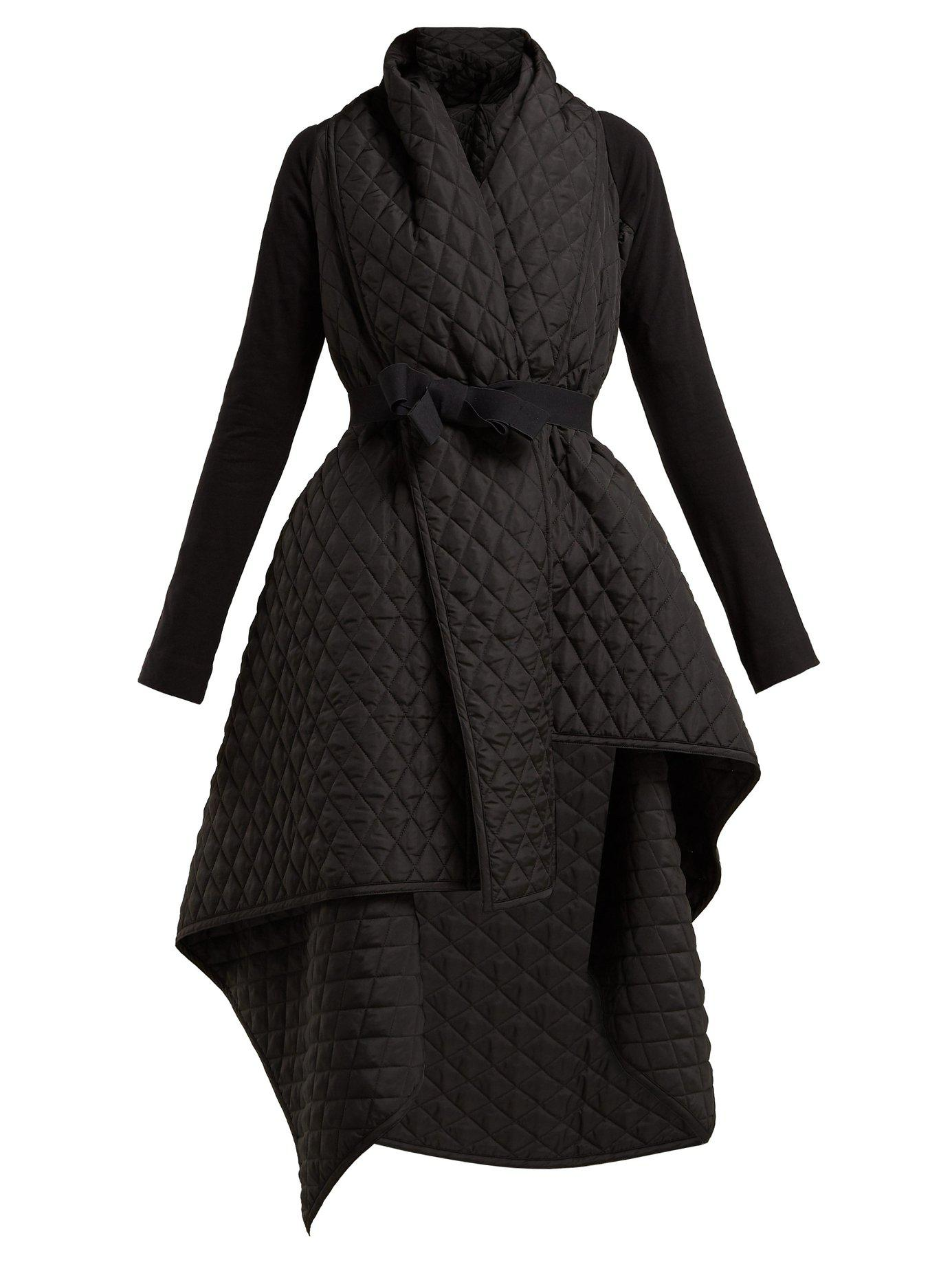 Lyst - Norma Kamali Quilted Blanket Belted Coat in Black 1d5c55b40