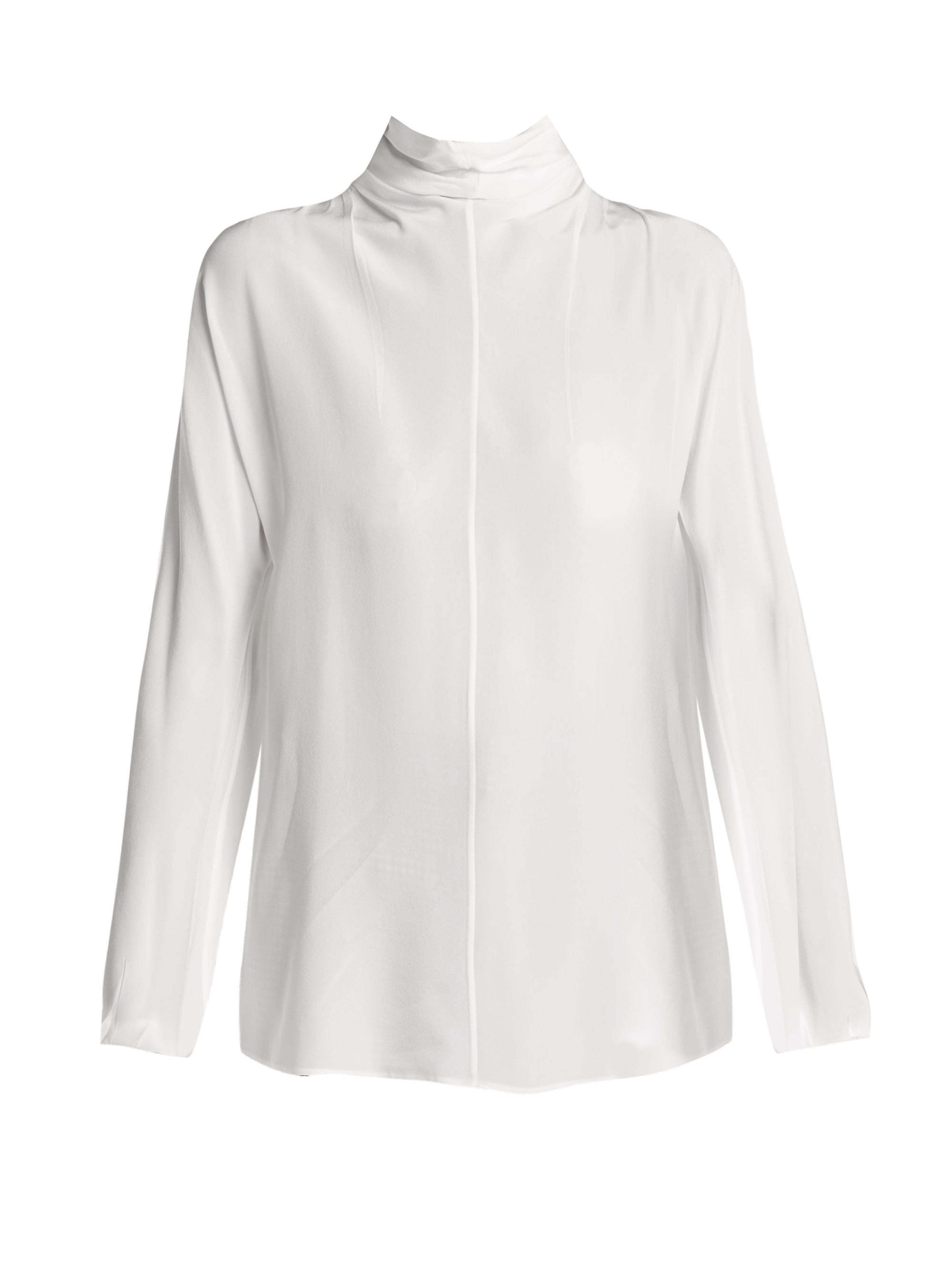 7bf8ec89393e7 Prada Tie Neck Silk Blouse in White - Lyst