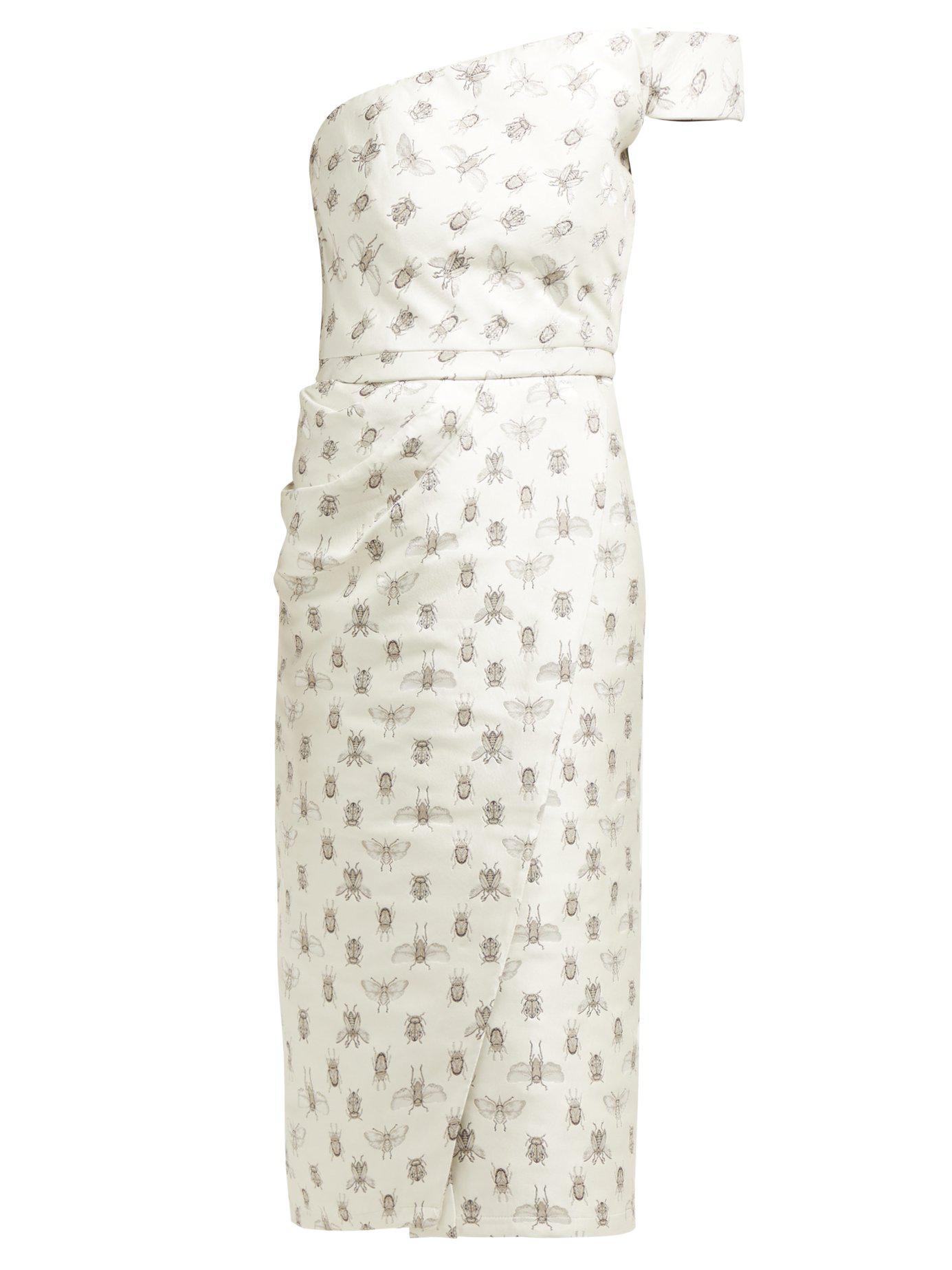 Johanna Ortiz. Women s Metallic Little Details Insect Print Satin Midi Dress e548c615e