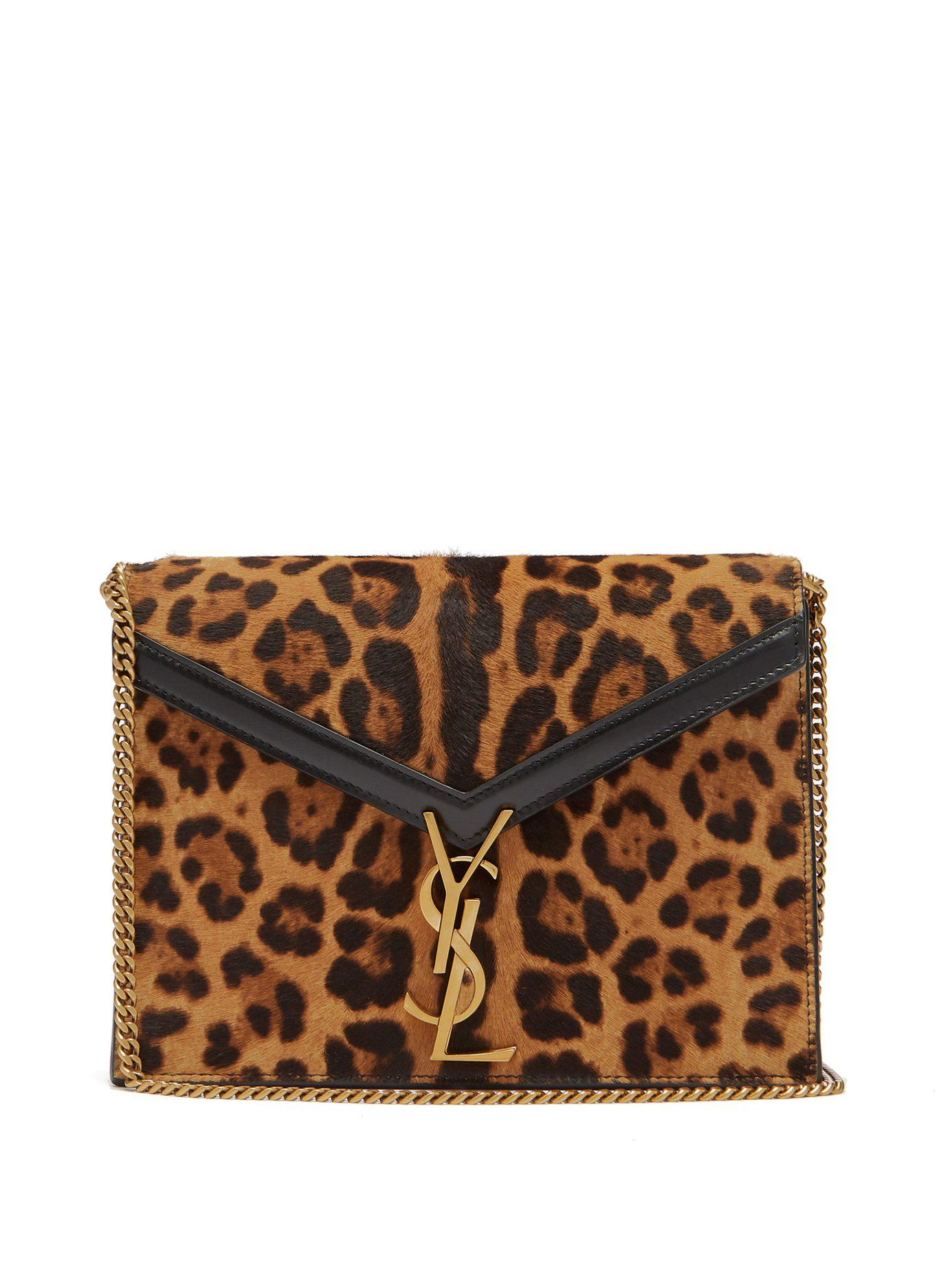 d027527635c Saint Laurent. Women s Cassandra Leopard Print Cross Body Bag