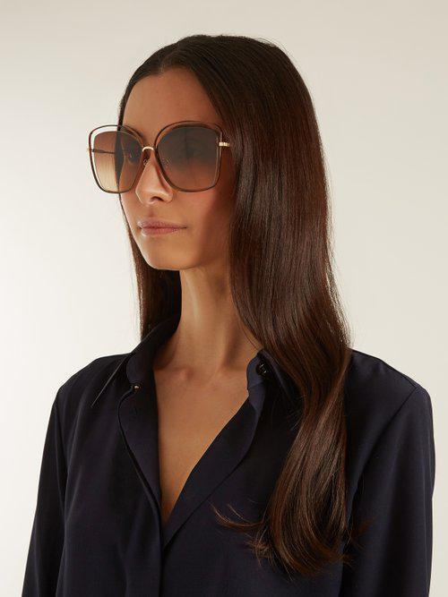 3f10a08e9b9 Lyst - Chloé Poppy Butterfly-frame Sunglasses in Brown