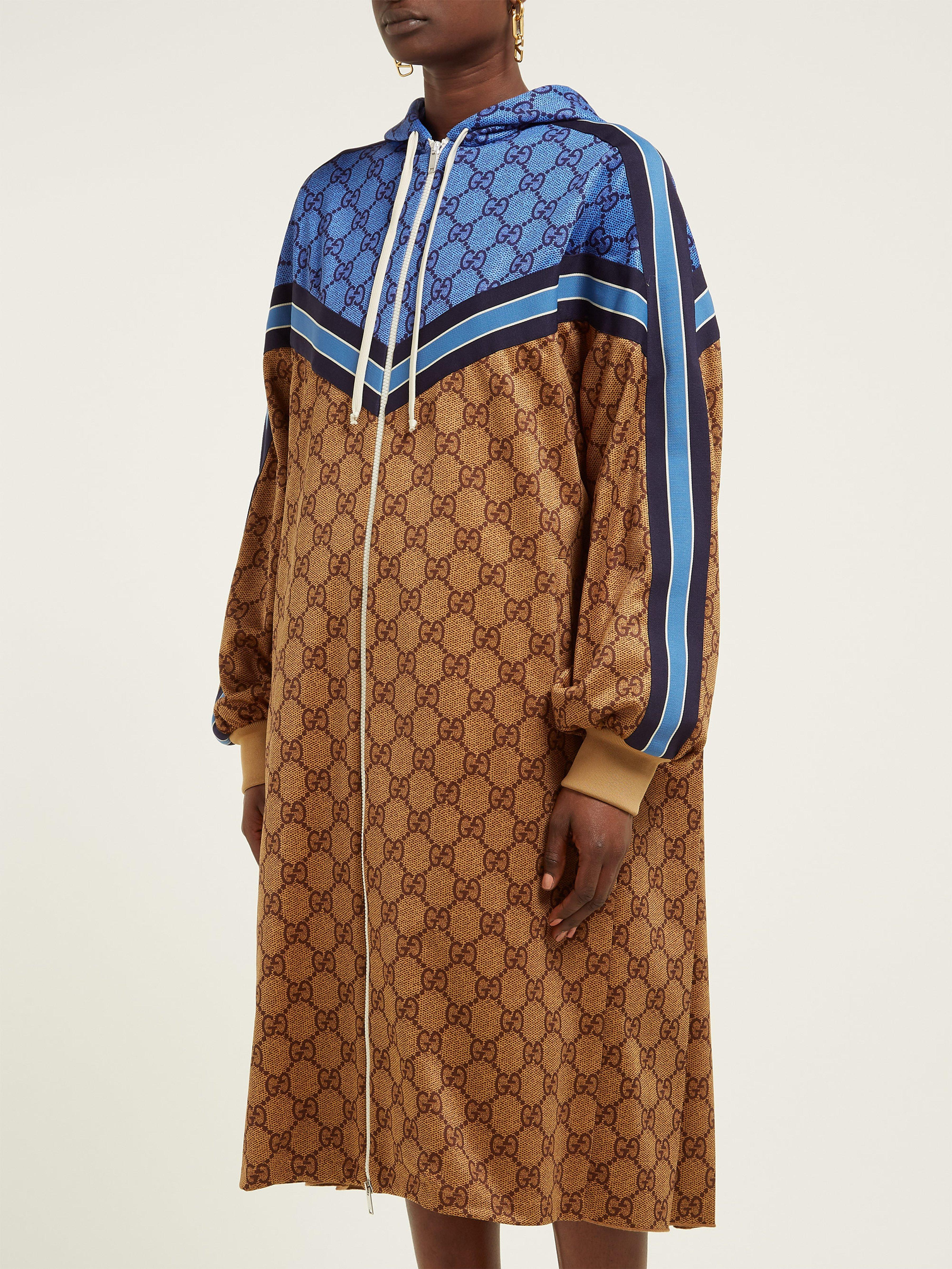 0ddd99e32 Gucci - Multicolor Gg Technical Jersey Hooded Dress - Lyst. View fullscreen
