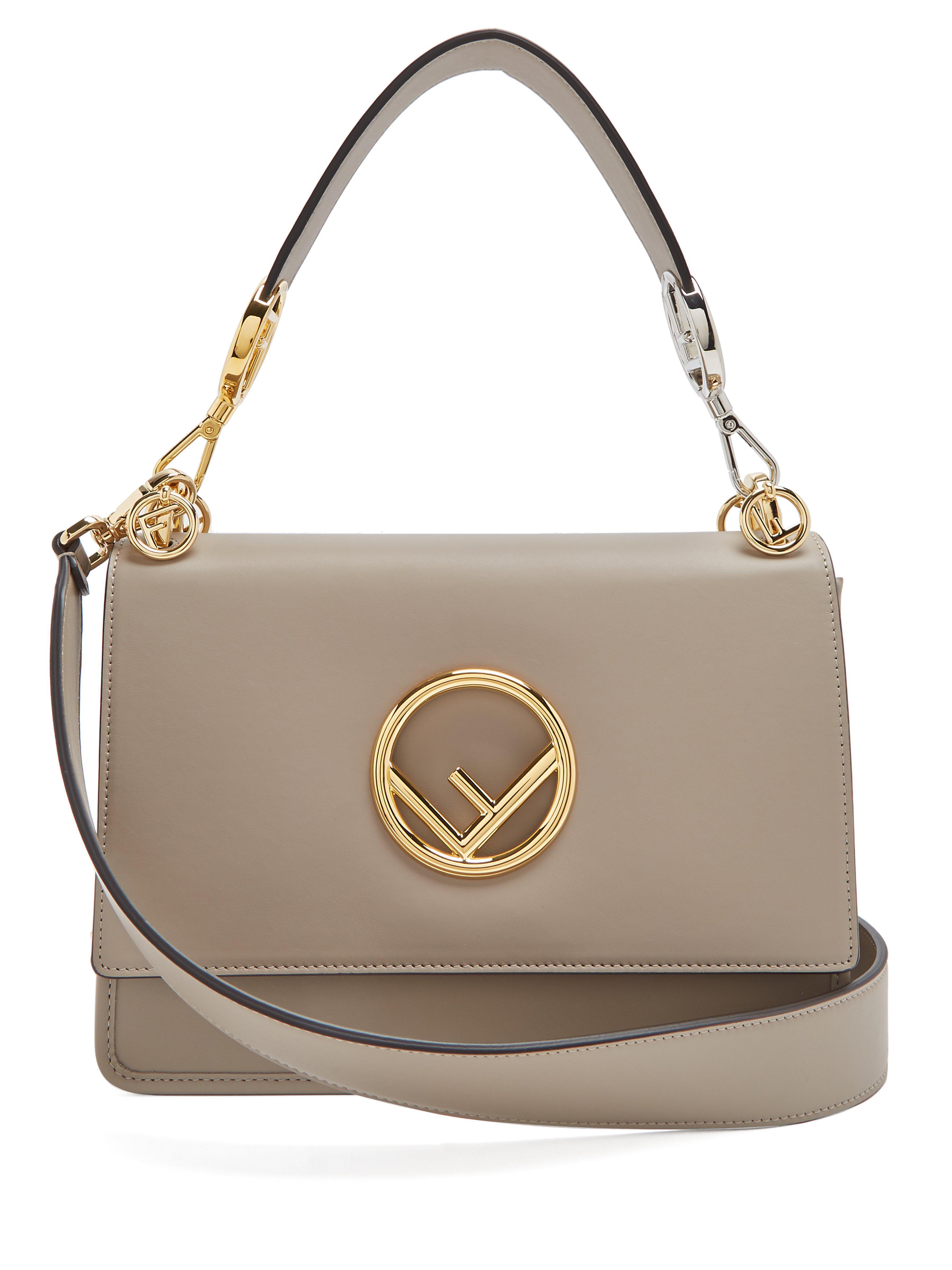 3e7f0b56dba0 Fendi Kan I Logo Leather Shoulder Bag in Gray - Lyst