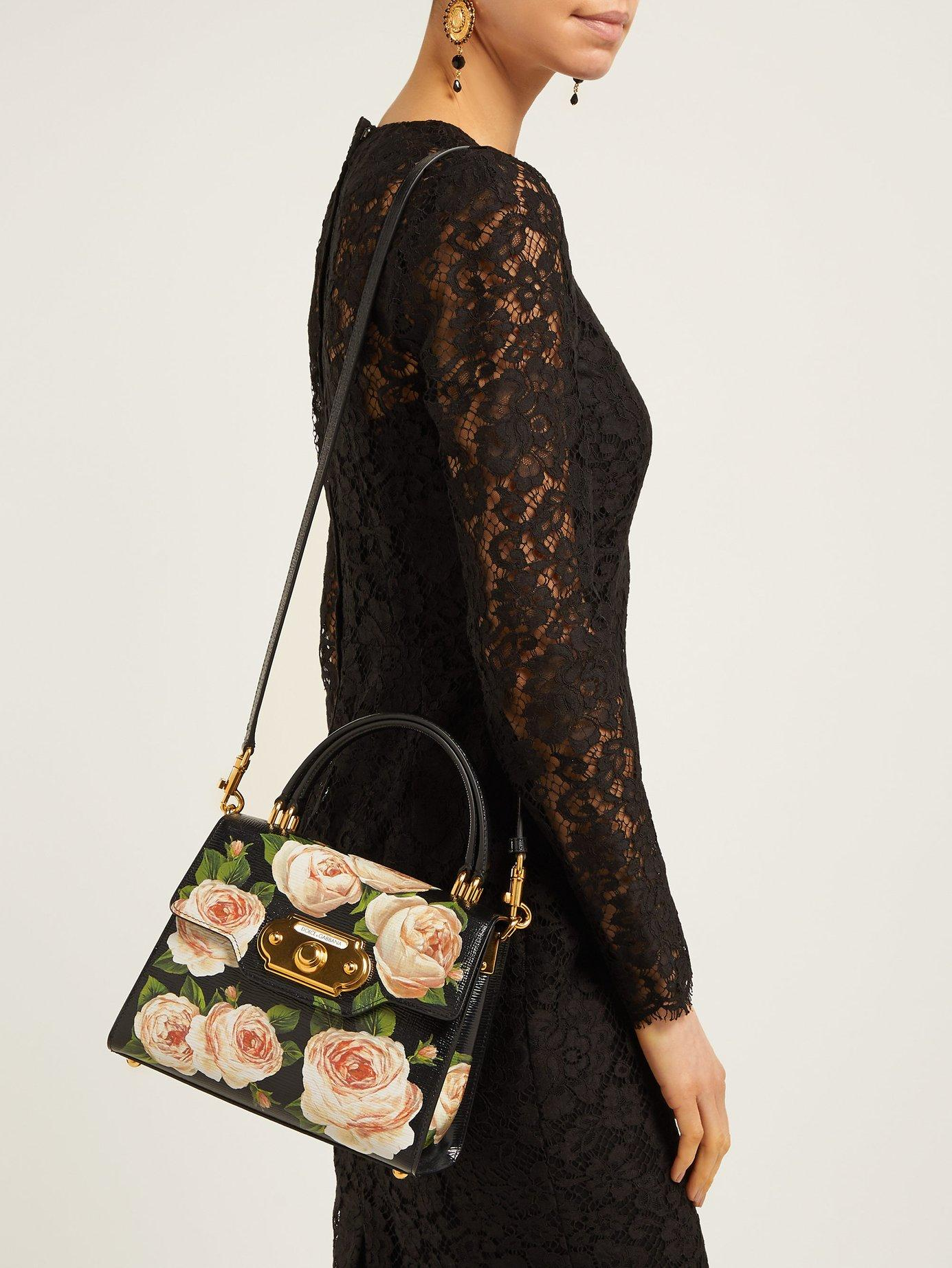 Dolce   Gabbana - Black Welcome Rose Printed Grained Leather Bag - Lyst.  View fullscreen 25f1c33bd55e4