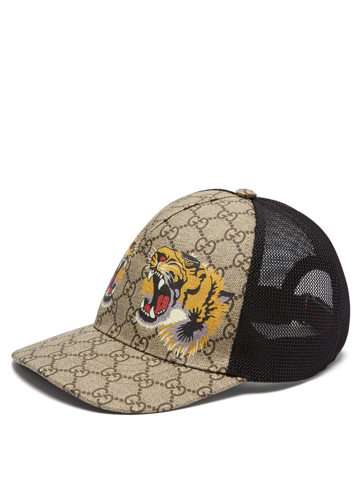 6e85bc2cf8a365 Gucci Gg Supreme And Tiger Print Mesh Cap in Natural for Men - Lyst