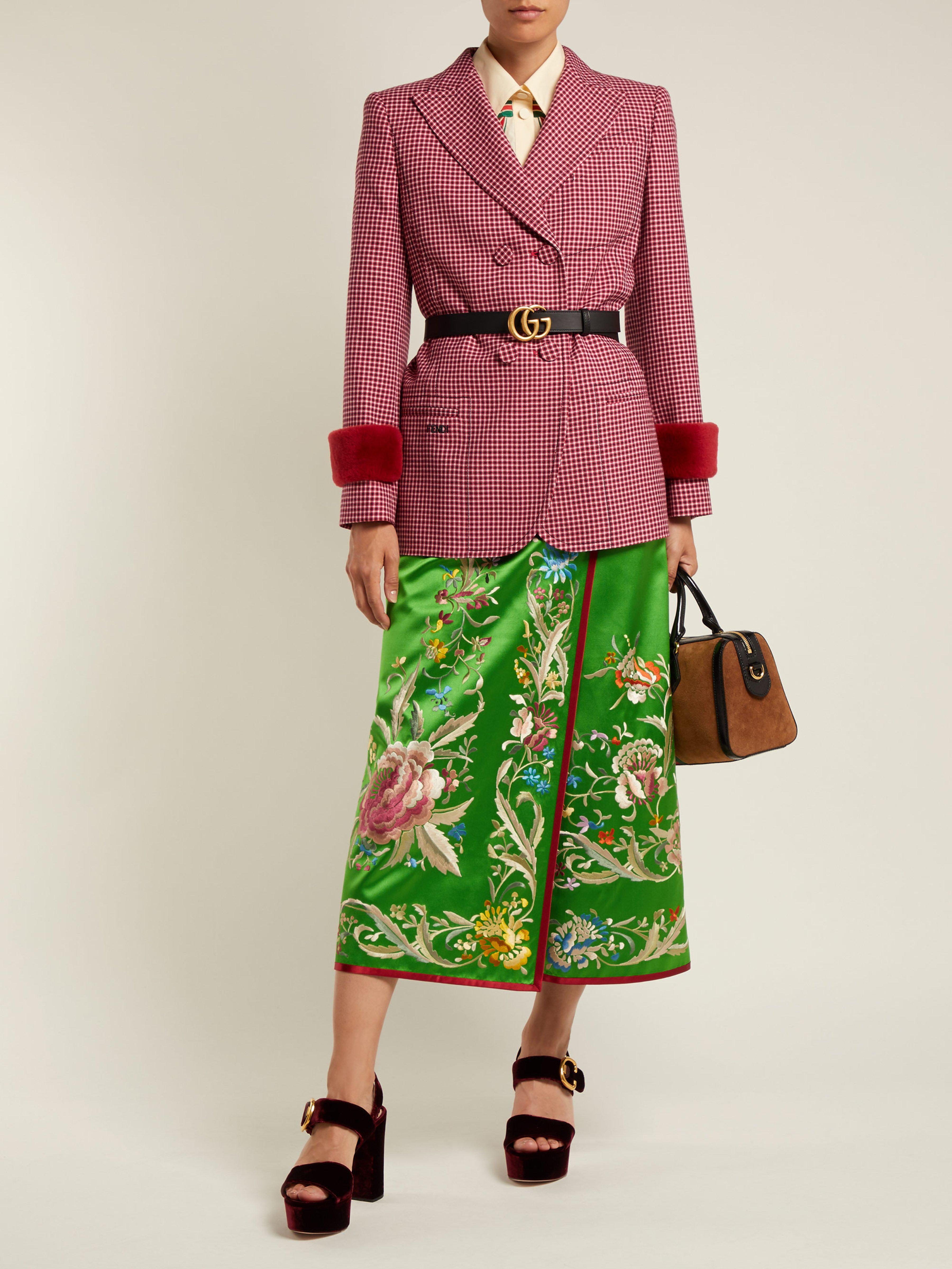 d2f278b0c Gucci Floral Embroidered Silk Satin Skirt in Green - Lyst
