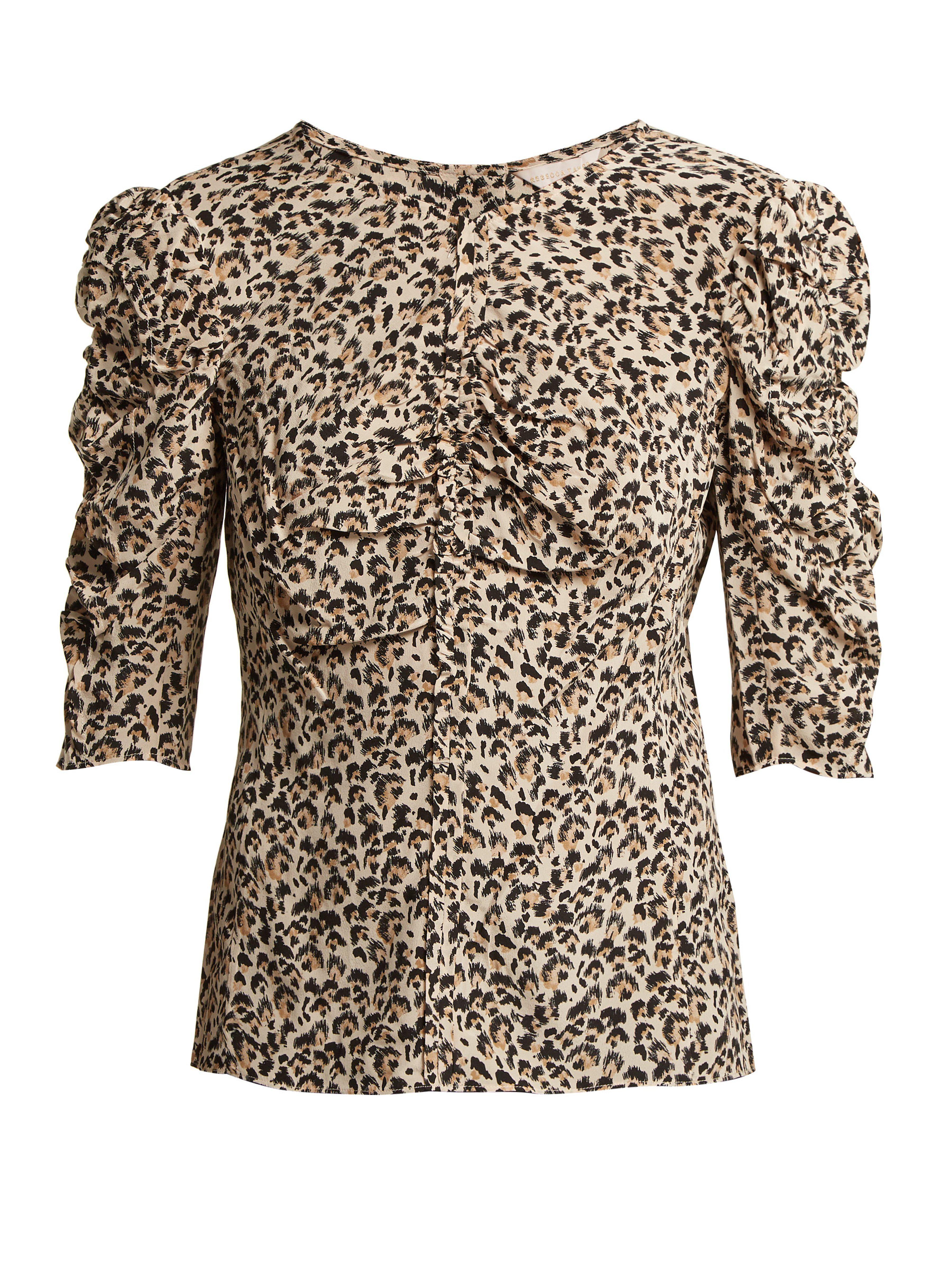 107a81fb93c11a Rebecca Taylor Ruched Leopard Print Silk Blouse in Brown - Save 12 ...