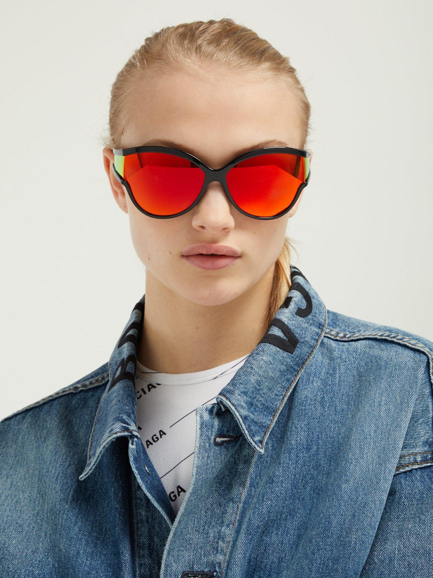 6b6e95cf98 Lyst - Balenciaga Ski Reflective Cat Eye Sunglasses in Orange