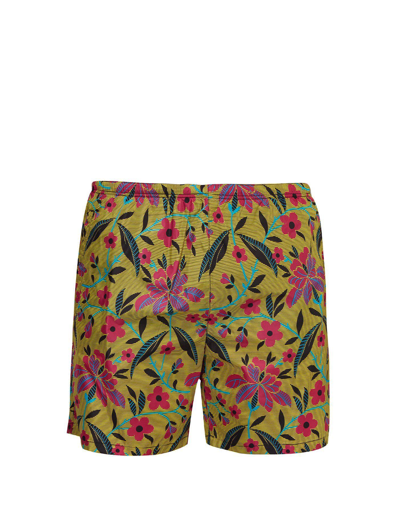 e584de1507 Lyst - Prada Striped Floral Print Swim Shorts for Men