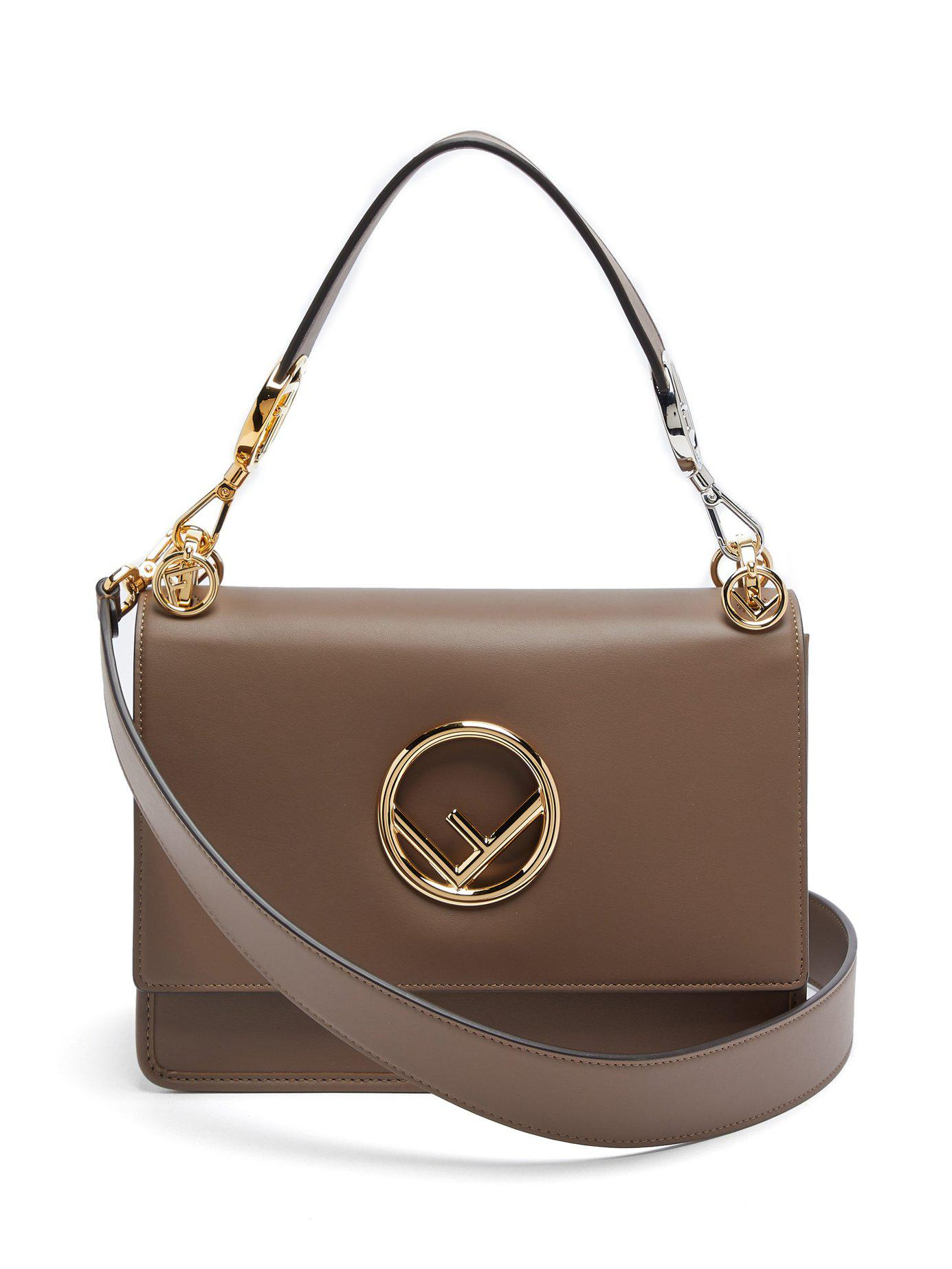 f14216caba1b Lyst - Fendi Kan I Small Leather Shoulder Bag in Brown
