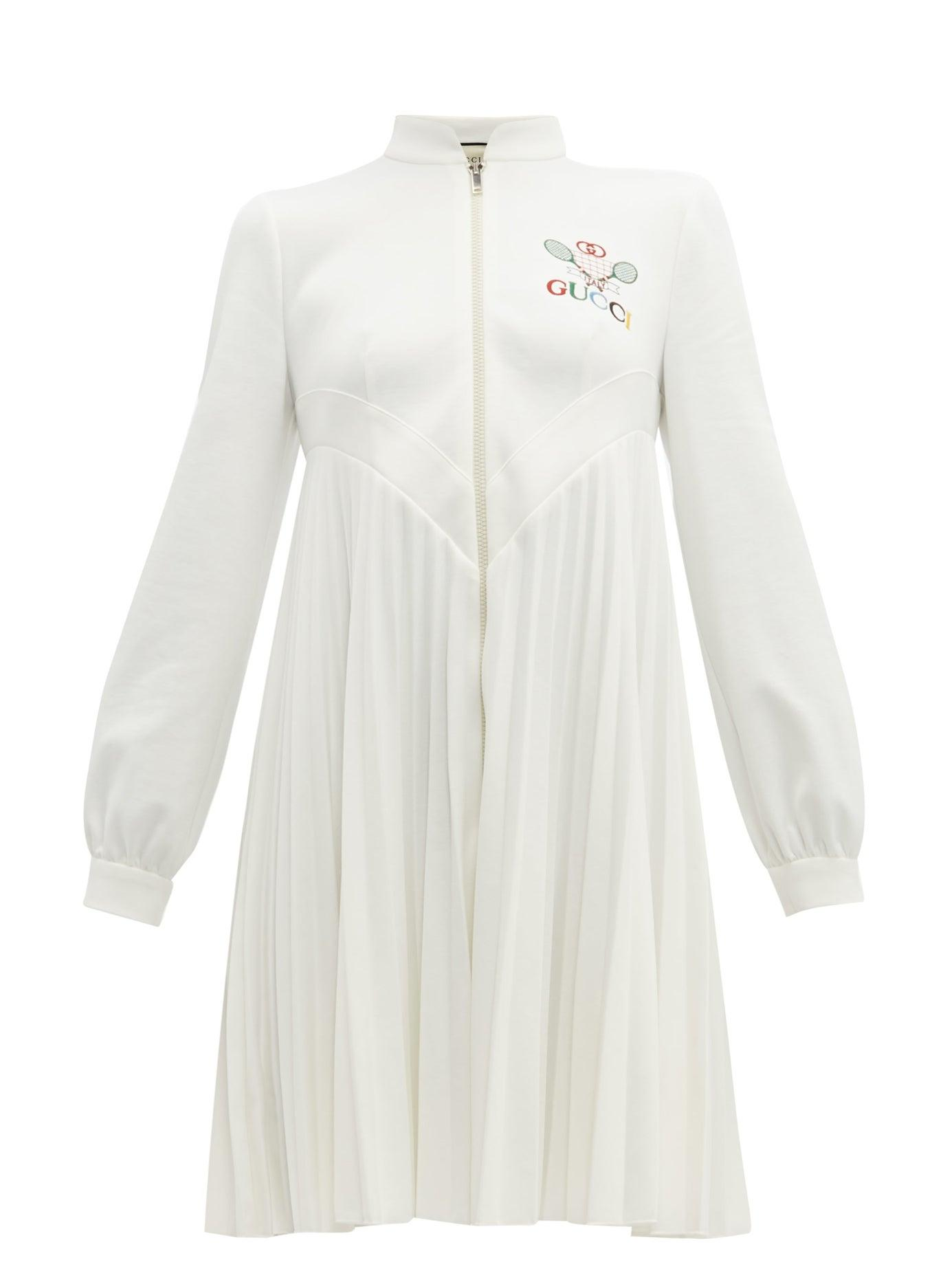c0c57d200 Gucci Tennis Logo Embroidered Pleated Dress in White - Lyst