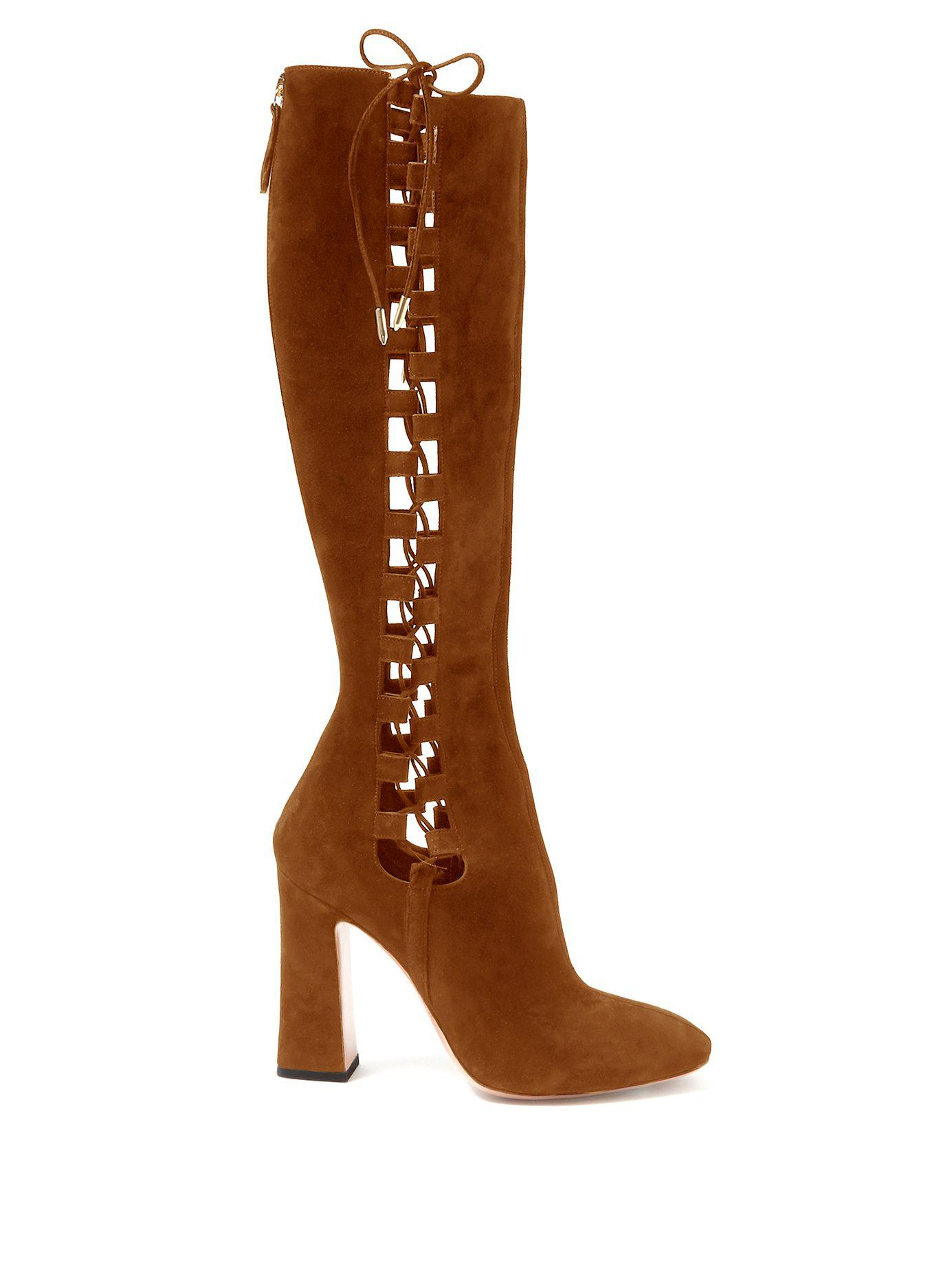 069ca9968d6 Lyst - Aquazzura Medina 105 Suede Knee High Boots in Brown