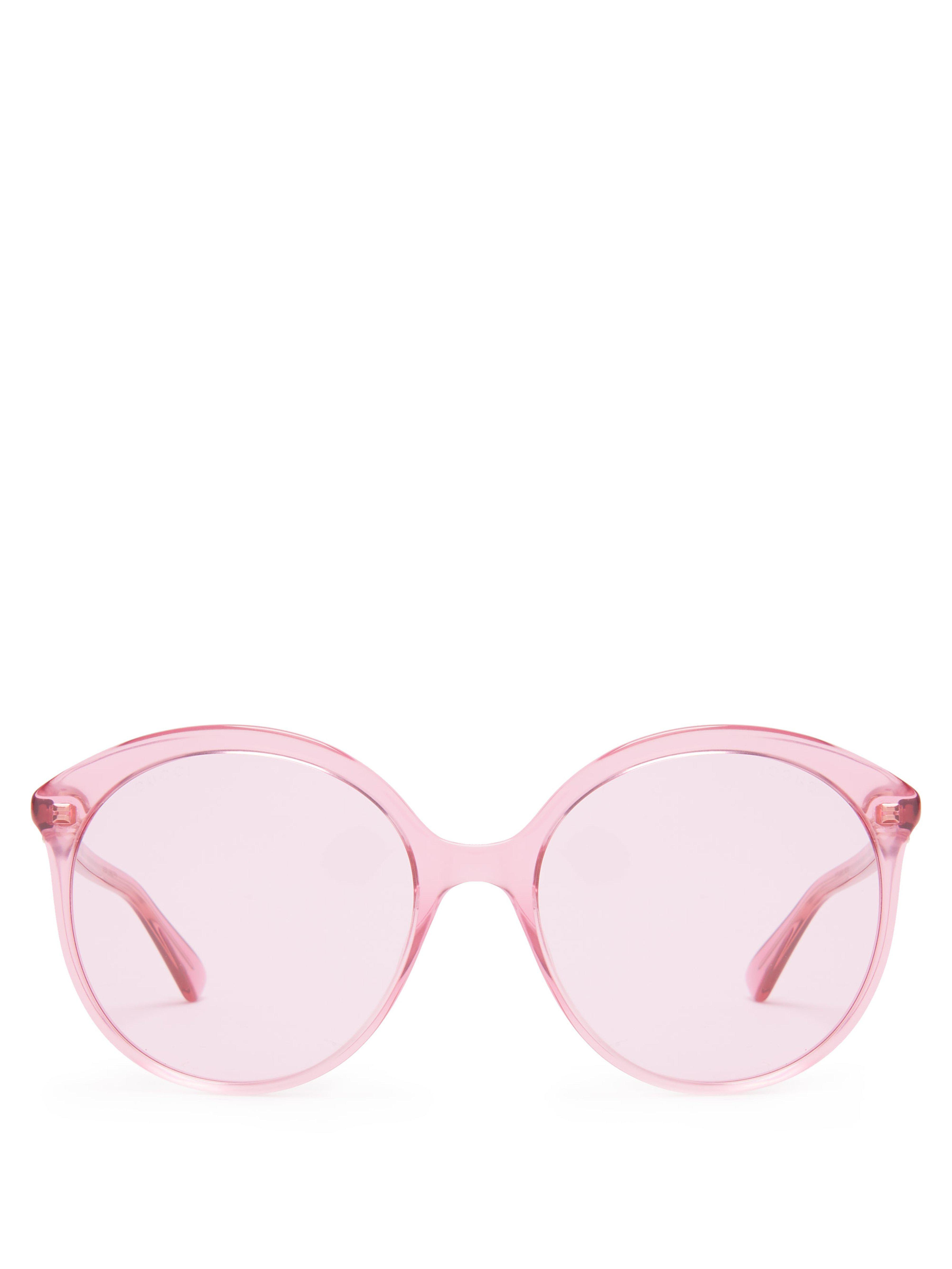 2419723b61 Gucci Round Cat Eye Frame Acetate Sunglasses in Pink - Lyst