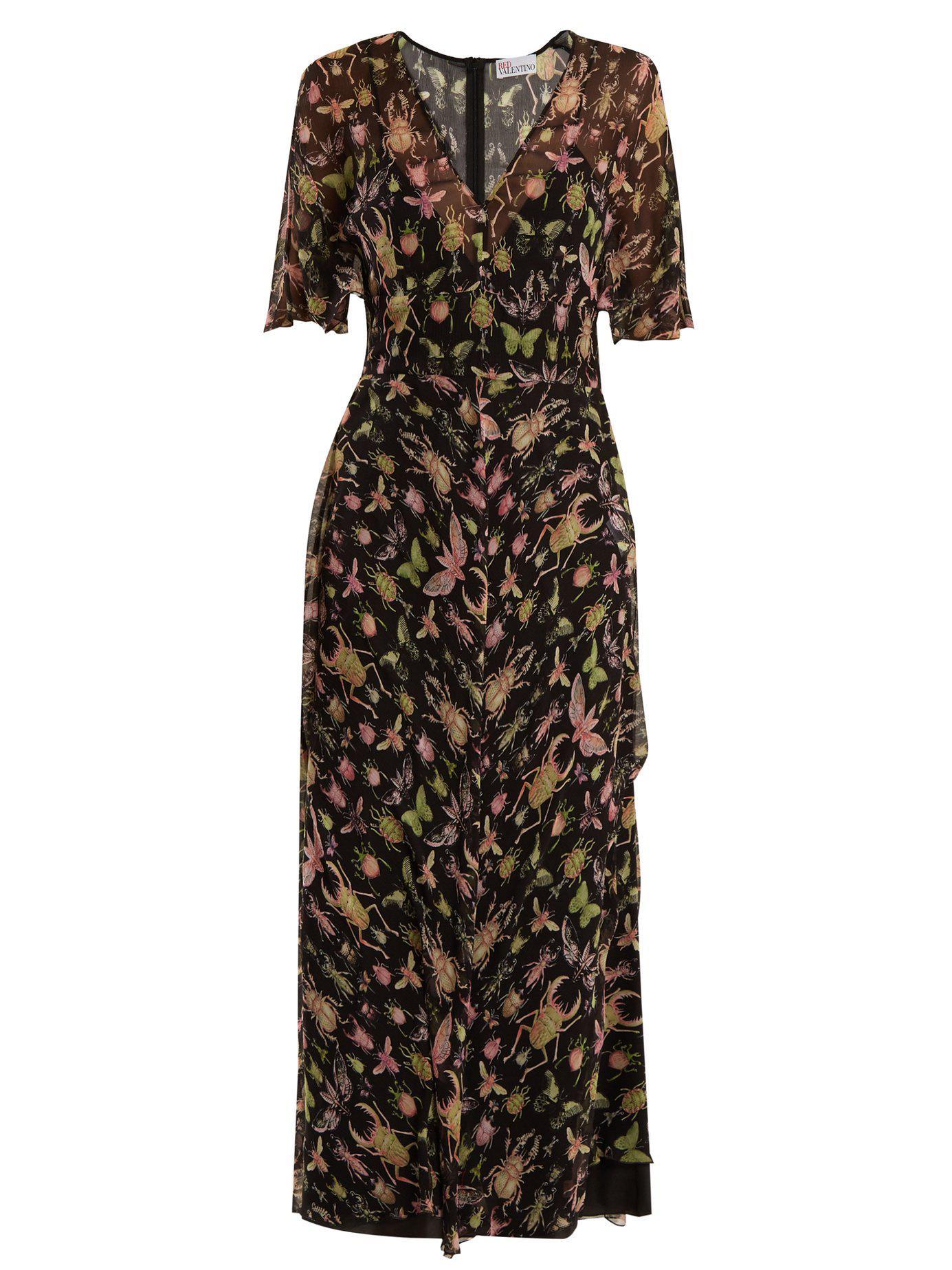 188f35b6d4c Lyst - RED Valentino Bug Print V Neck Silk Chiffon Midi Dress in Black