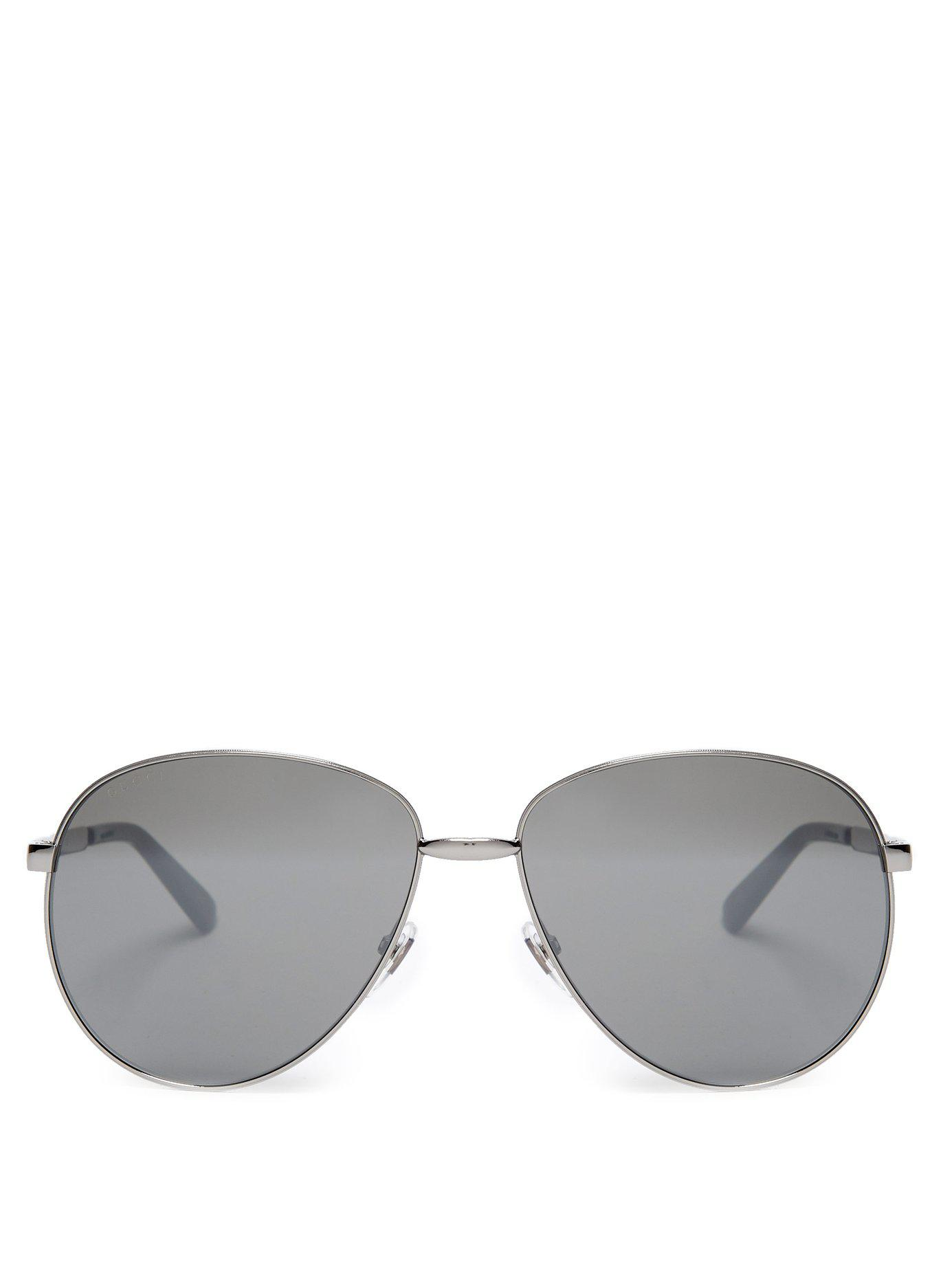 e0180d9ebd9 Lyst - Gucci Web Stripe Aviator Metal Sunglasses in Metallic for Men
