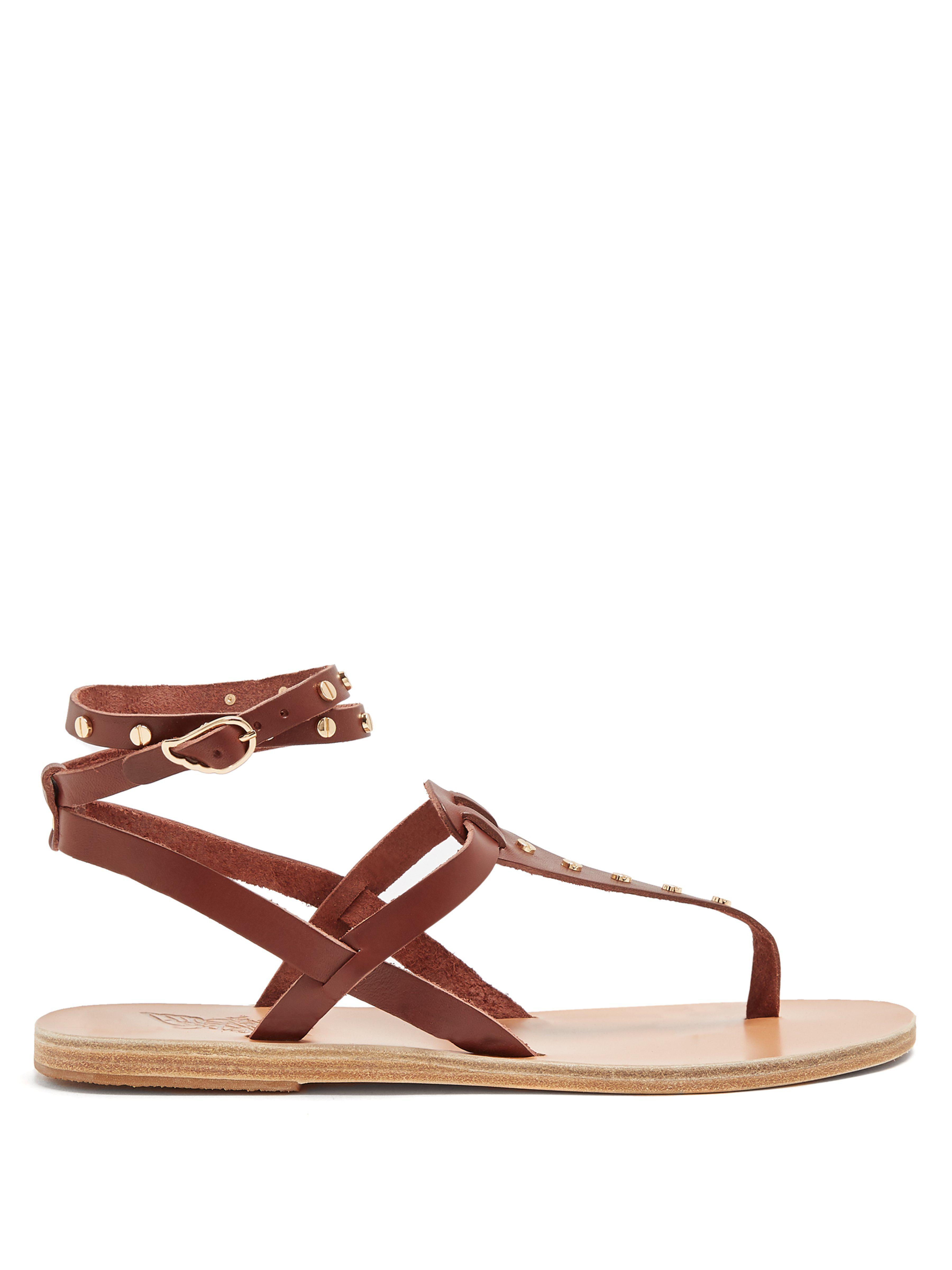 24931e8acabe5f Ancient Greek Sandals. Women s Brown Estia Nails Embellished Leather Sandals