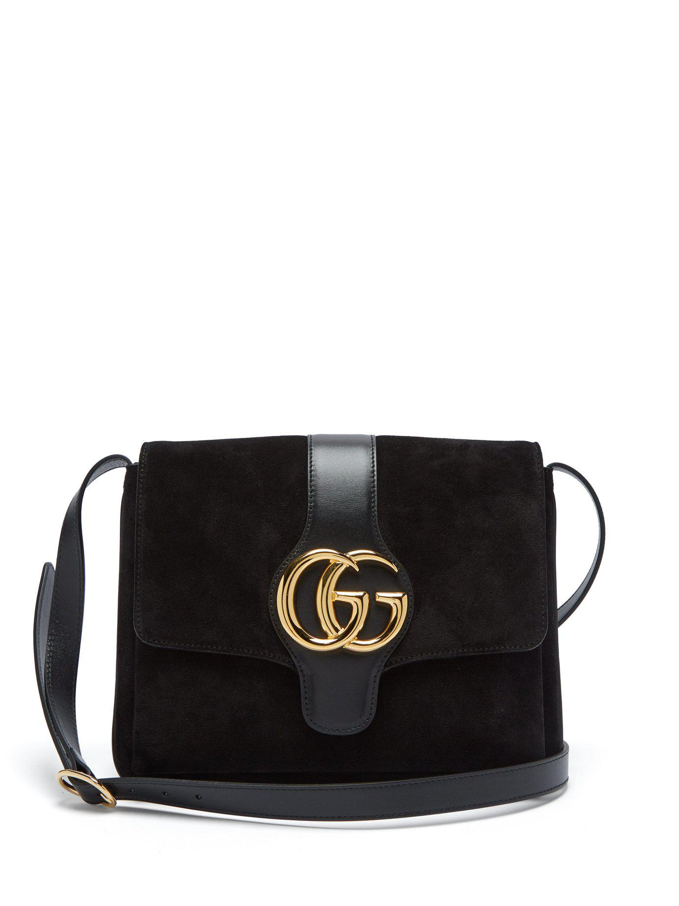 bfbe525c8a34d Lyst - Gucci Gg Arli Suede And Leather Cross Body Bag in Black