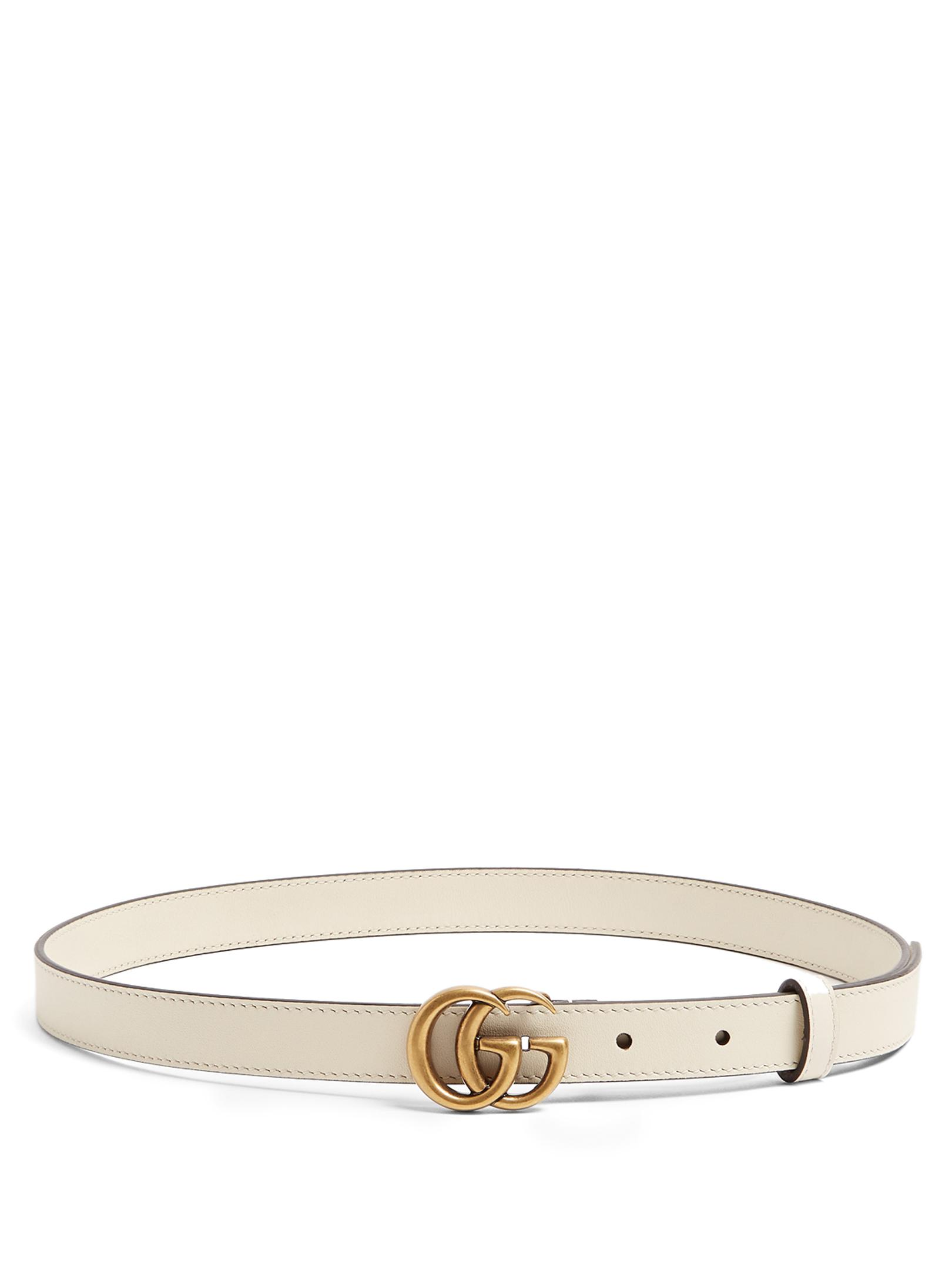 100d0f51129 Lyst - Gucci Gg-logo 2cm Leather Belt in Natural