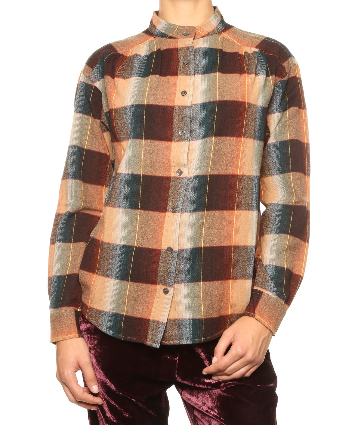 Closed checked shirt in brown lyst for Ladies brown check shirt